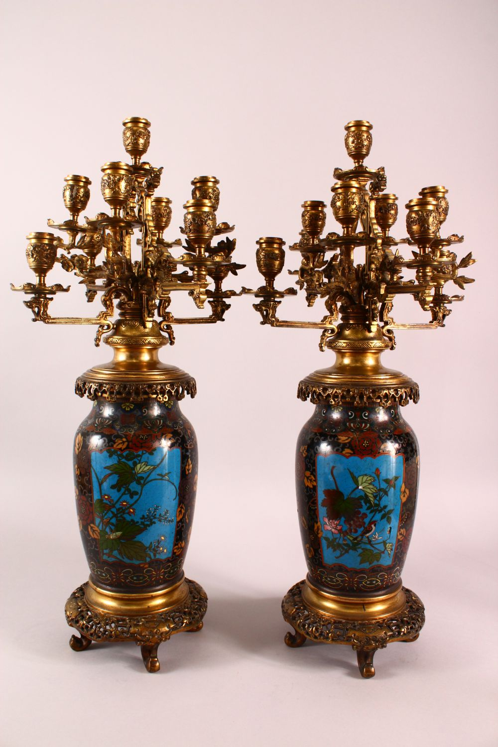 A VERY GOOD PAIR OF JAPANESE CLOISONNE AND ORMOLU NINE LIGHT CANDELABRA, the candle branches - Image 5 of 12