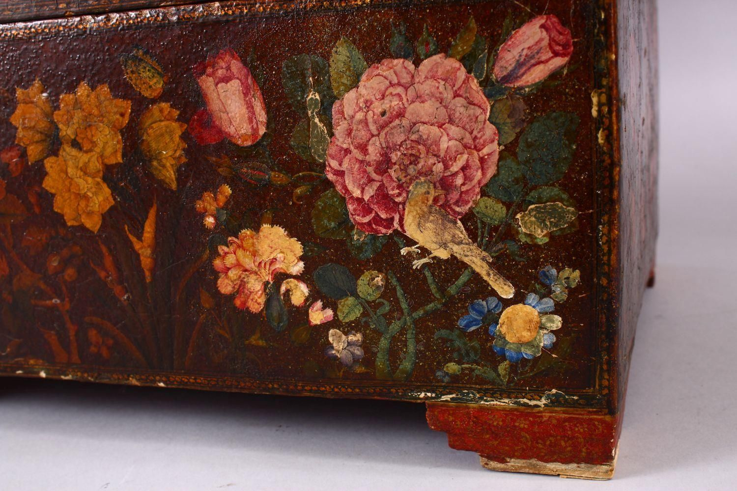 A GOOD PERSIAN QAJAR LACQUER PAINTED LIDDED BOX, decorated to the exterior with birds and detailed - Image 2 of 15