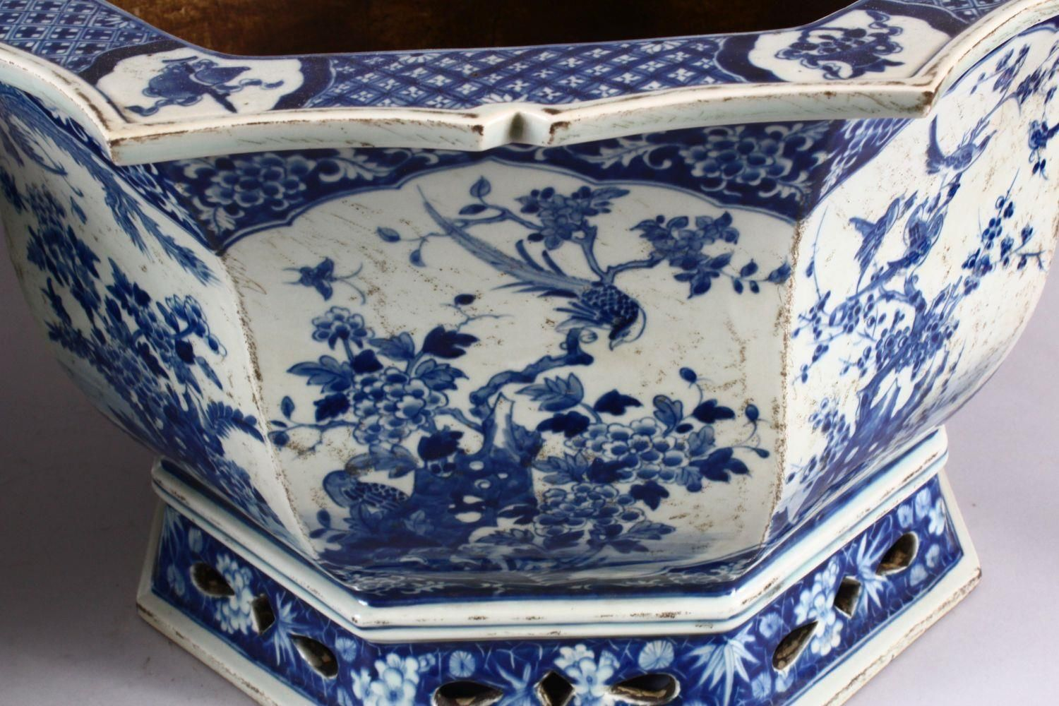 A PAIR OF LARGE CHINESE BLUE & WHITE OCTAGONAL PORCELAIN JARDINIERE / PLANTERS, decorated with - Image 7 of 8
