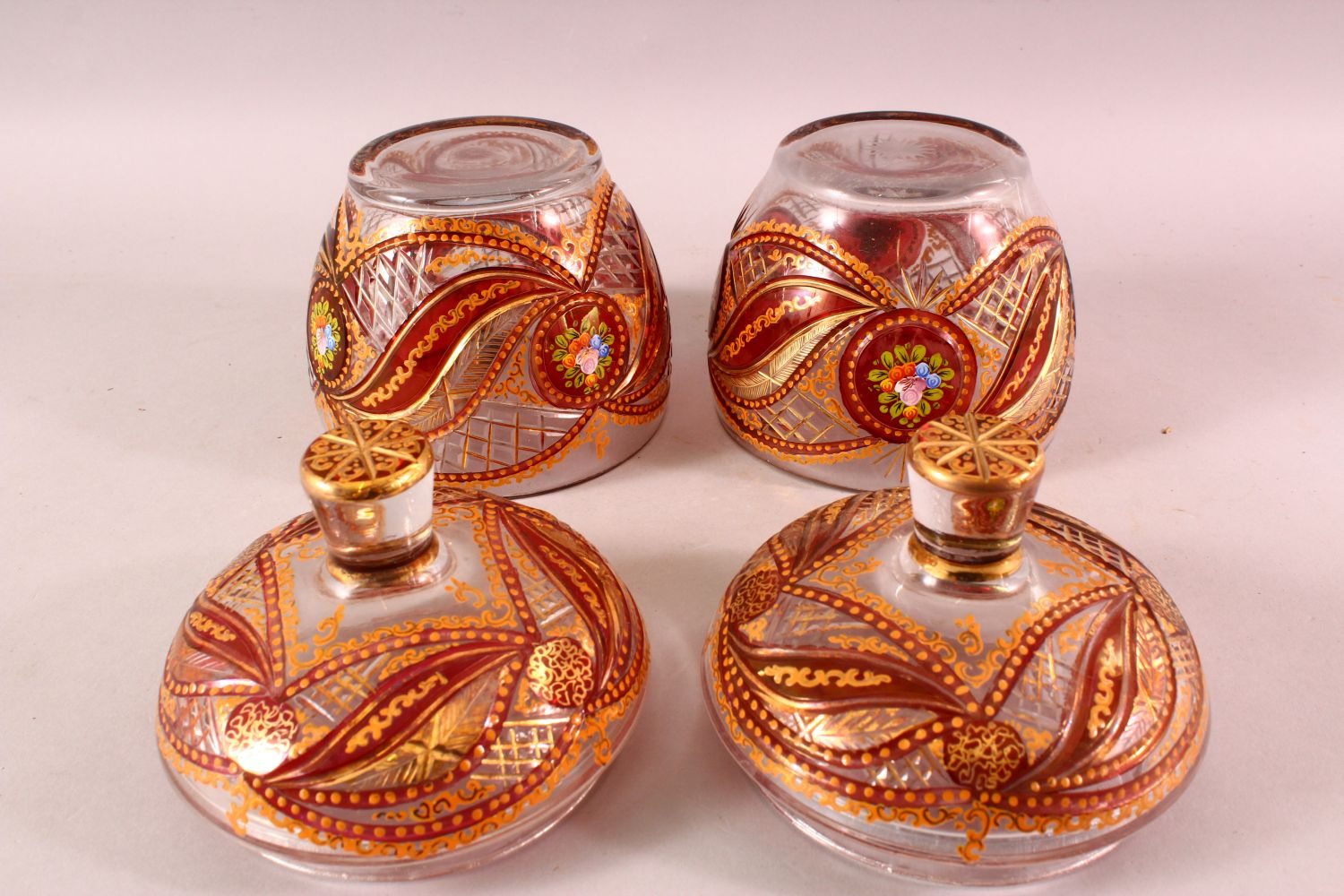 A PAIR OF BOHEMIAN RED ENAMELLED GLASS JARS, each with enamel and gilt work, 20cm each - Image 4 of 4