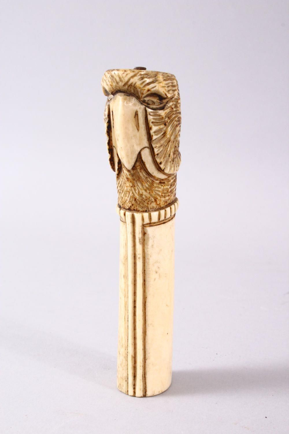 A 19TH CENTURY INDIAN MUGHAL CARVED IVORY BIRD FORMED DAGGER HANDLE, 13cm. - Image 2 of 6