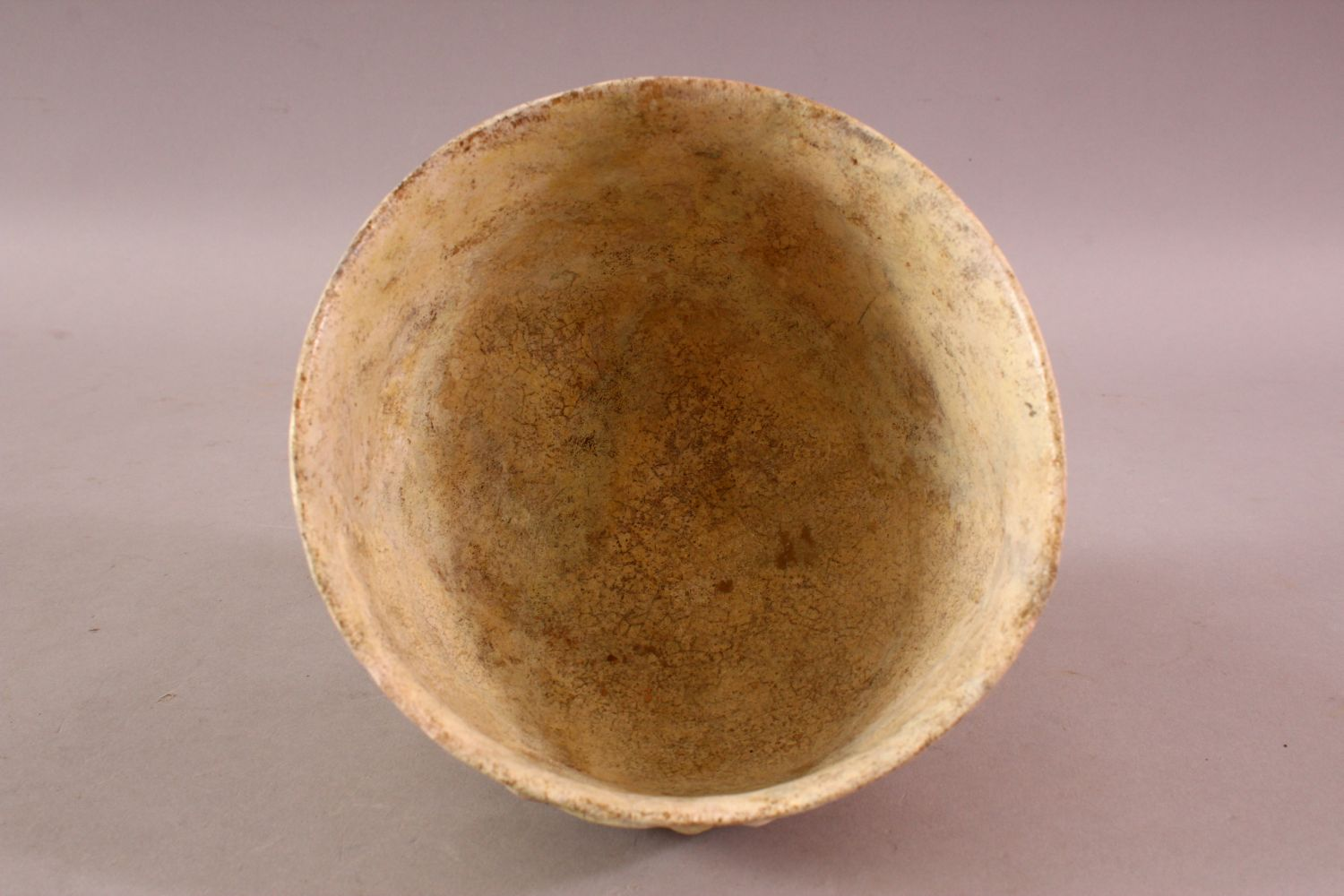 A 12TH CENTURY KUFIC SCRIPT GLAZED POTTERY BOWL, the exterior with moulded script, 15cm diameter, - Image 5 of 6