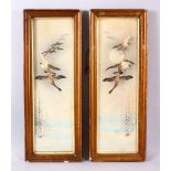 A PAIR OF JAPANESE HAND COLOURED WOODBLOCK PRINTS BY HANA - each scene depicting geese in flight
