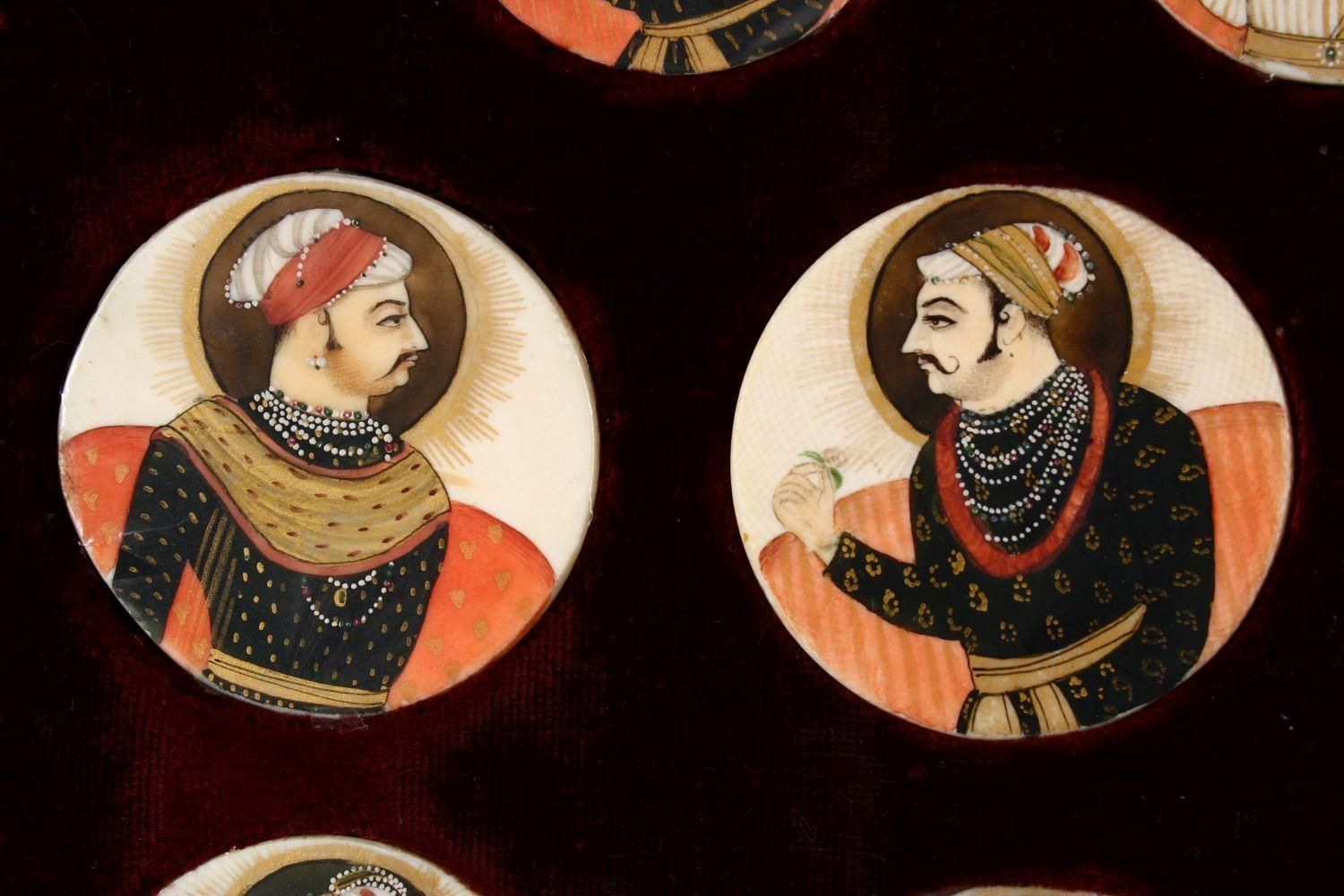 A BOXED SET OF THIRTEEN 18TH/19TH CENTURY PERSIAN CARVED & PAINTED IVORY MINIATURES, each of the - Image 5 of 10