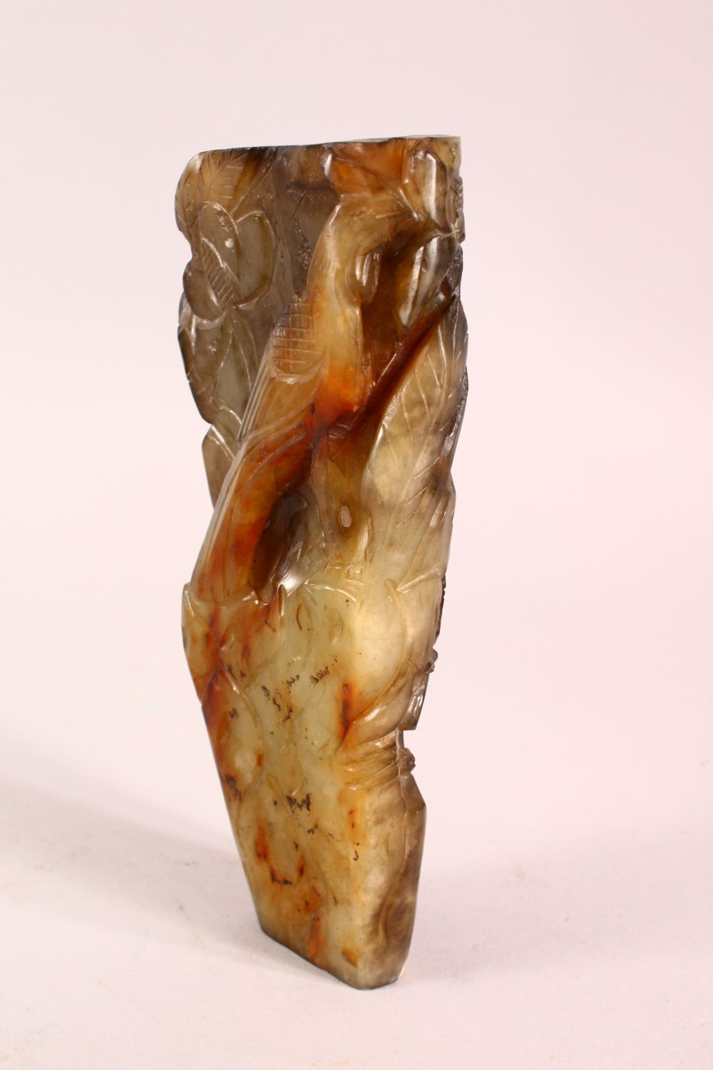 A CHINESE CARVED JADE VASE, carved with figures and foliage, 20.5cm - Image 3 of 8