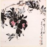 A CHINESE SCROLL PAINTING OF A DISPLAY OF FLORA, the painting on paper depicting a colourful spray