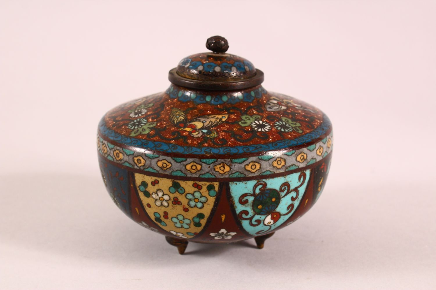 A CLOISONNE KORO AND COVER, decorated with butterflies, flowers and buddhistic emblems, on three - Image 2 of 7