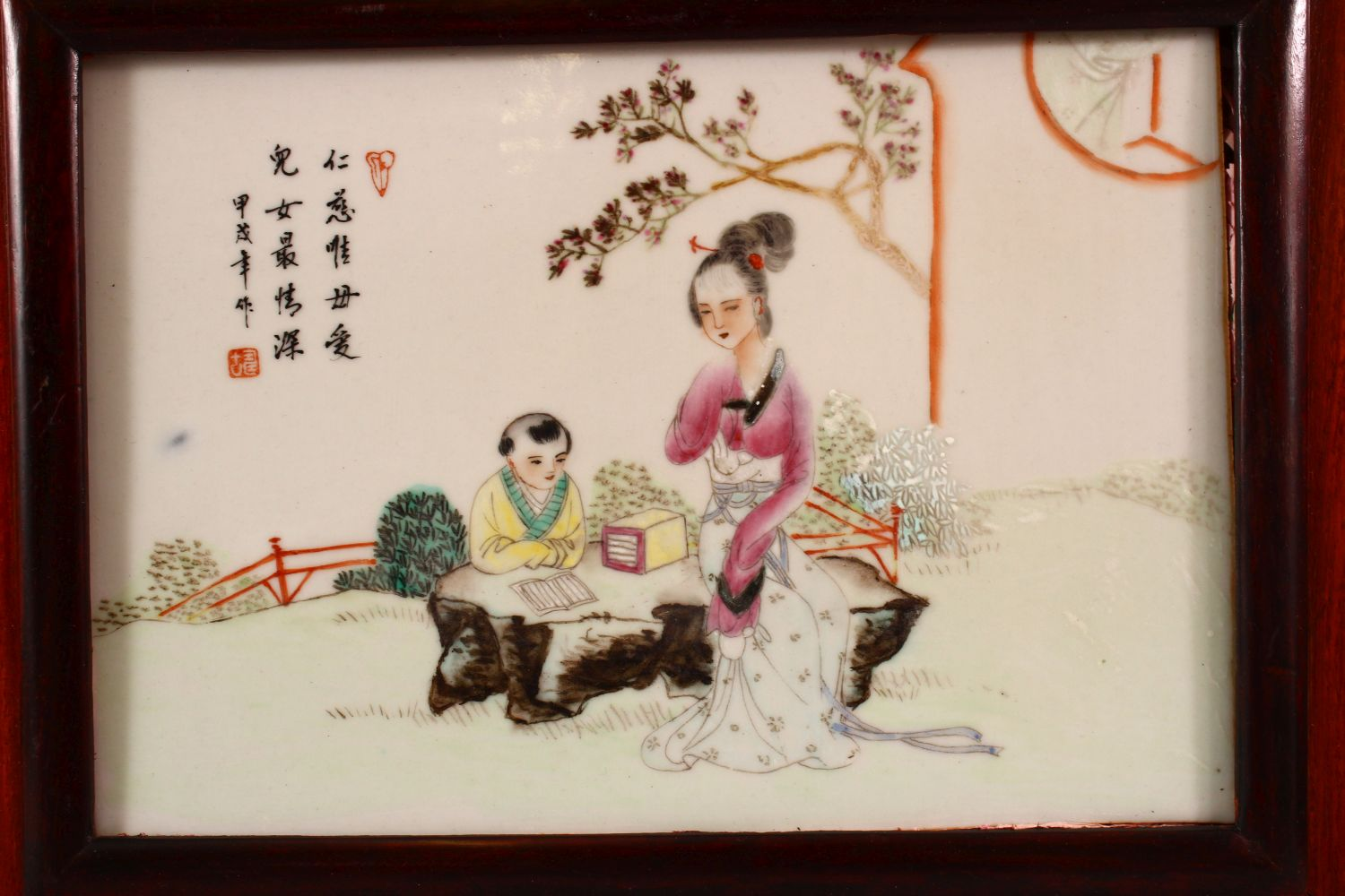 A PAIR OF CHINESE FAMILLE ROSE PORCELAIN PANELS, depicting birds and flora, mother and child, each - Image 3 of 4