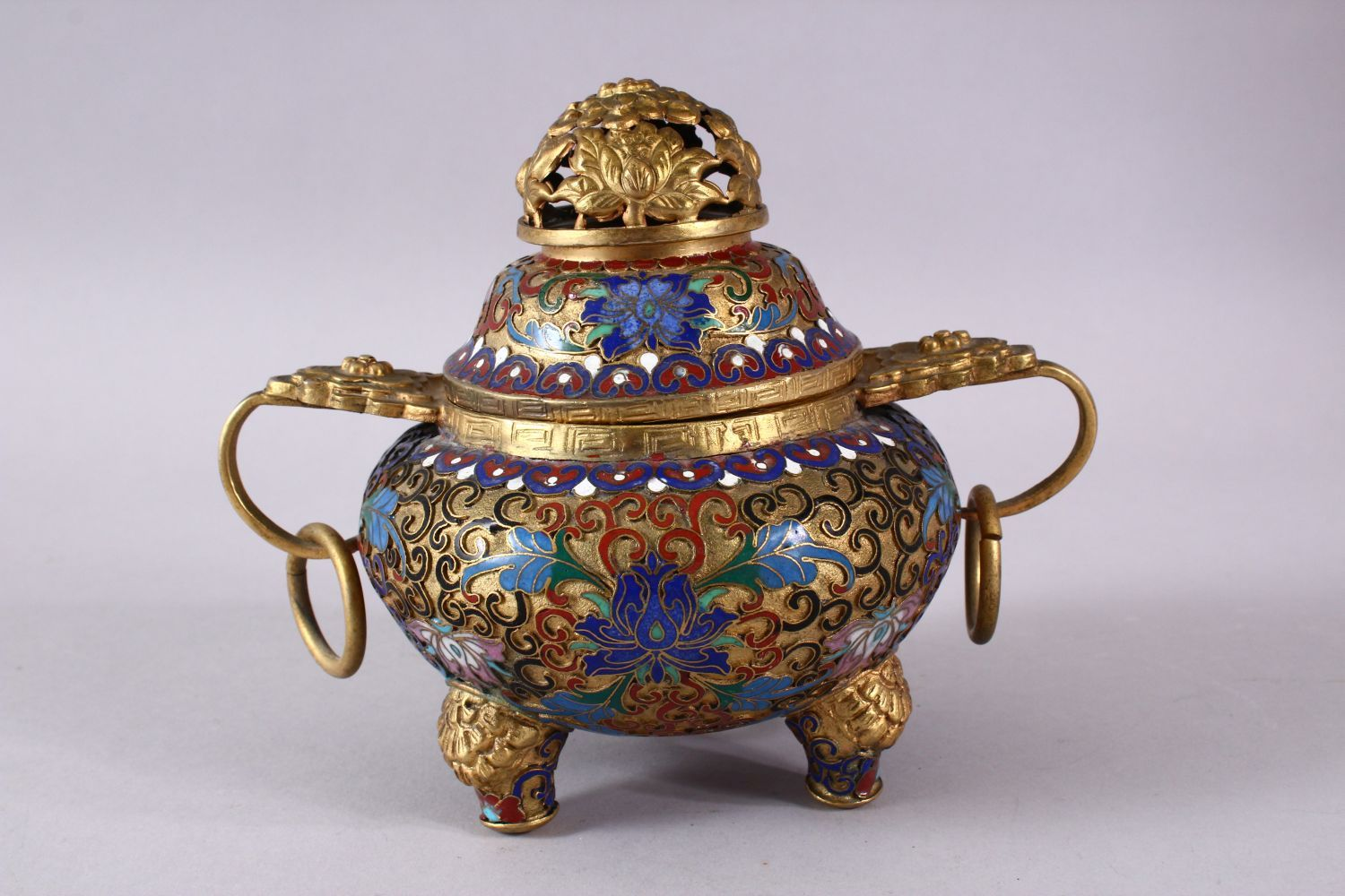 A CHINESE CLOISONNE TRIPLE FOOT CENSER & COVER, with raised enamel decoration of lotus, triple - Image 4 of 8