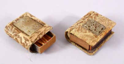 TWO CHINESE CARVED JADE INSET MATCH BOX HOLDERS, each inset with a small carved jade pendant, two