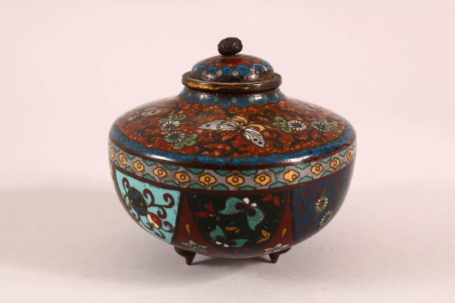 A CLOISONNE KORO AND COVER, decorated with butterflies, flowers and buddhistic emblems, on three - Image 3 of 7