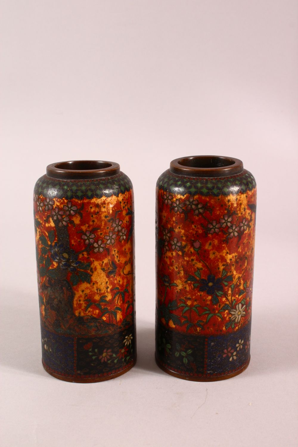 A PAIR OF JAPANESE CLOISONNE VASES OF CYLINDRICAL FORM, gold ground, 15cm high. - Image 2 of 5