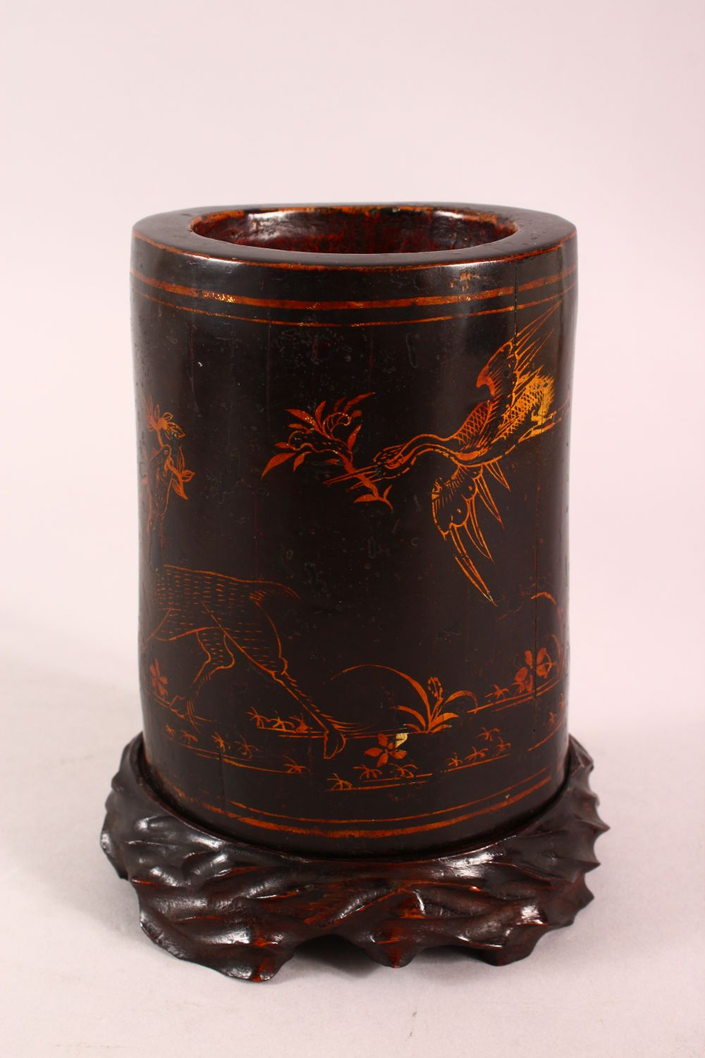 A CHINESE LACQUERED BAMBOO BRUSH WASH AND STAND, the body decorated with birds in landscapes, 19cm - Image 3 of 7