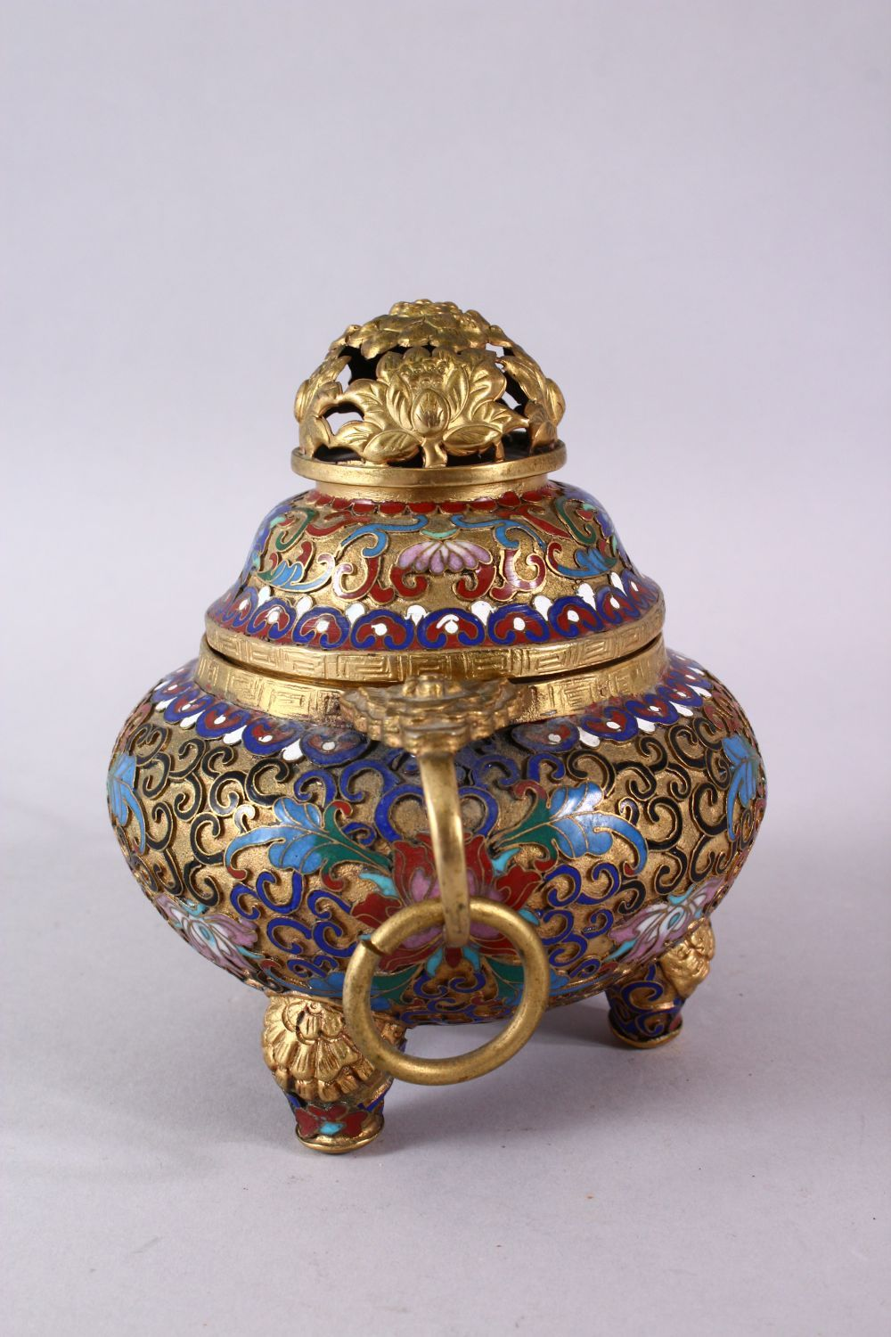 A CHINESE CLOISONNE TRIPLE FOOT CENSER & COVER, with raised enamel decoration of lotus, triple - Image 3 of 8