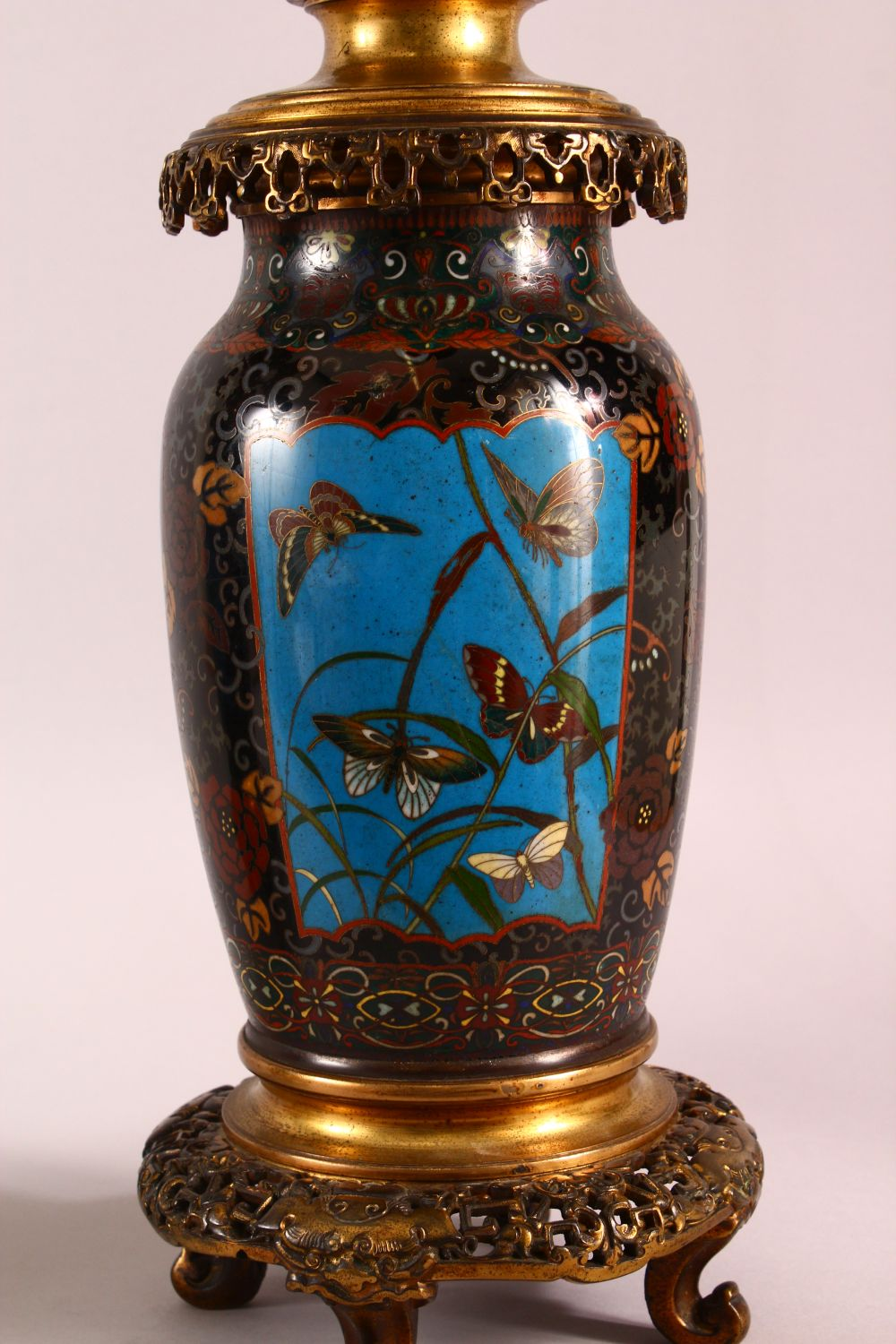 A VERY GOOD PAIR OF JAPANESE CLOISONNE AND ORMOLU NINE LIGHT CANDELABRA, the candle branches - Image 2 of 12