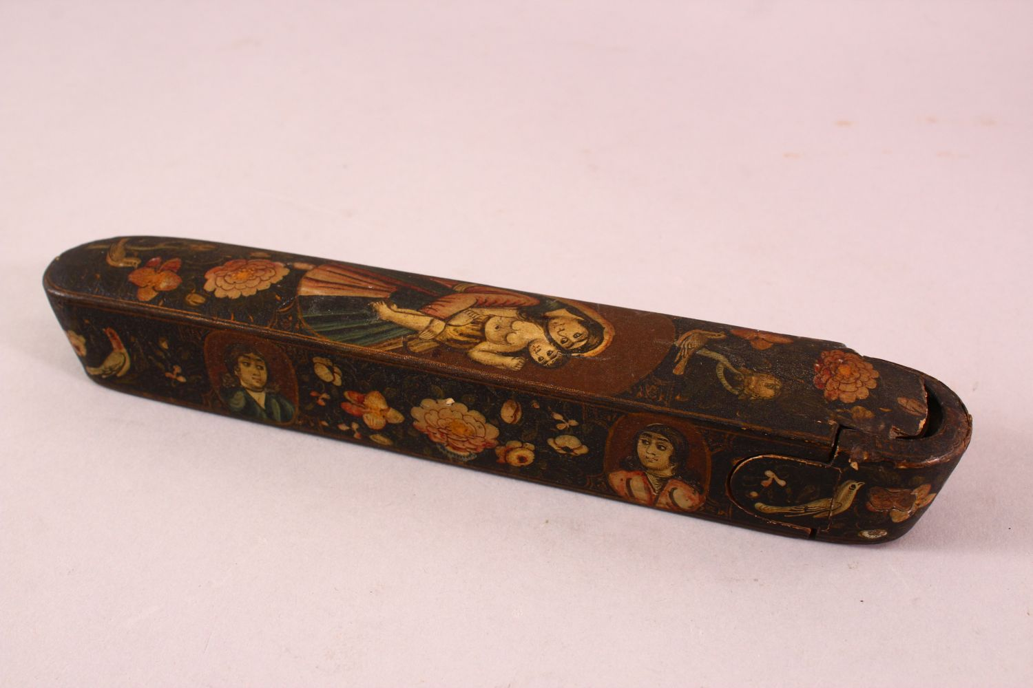A PERSIAN QAJAR LACQUERED PEN BOX containing the brass inkwell, 23cm long. - Image 2 of 5