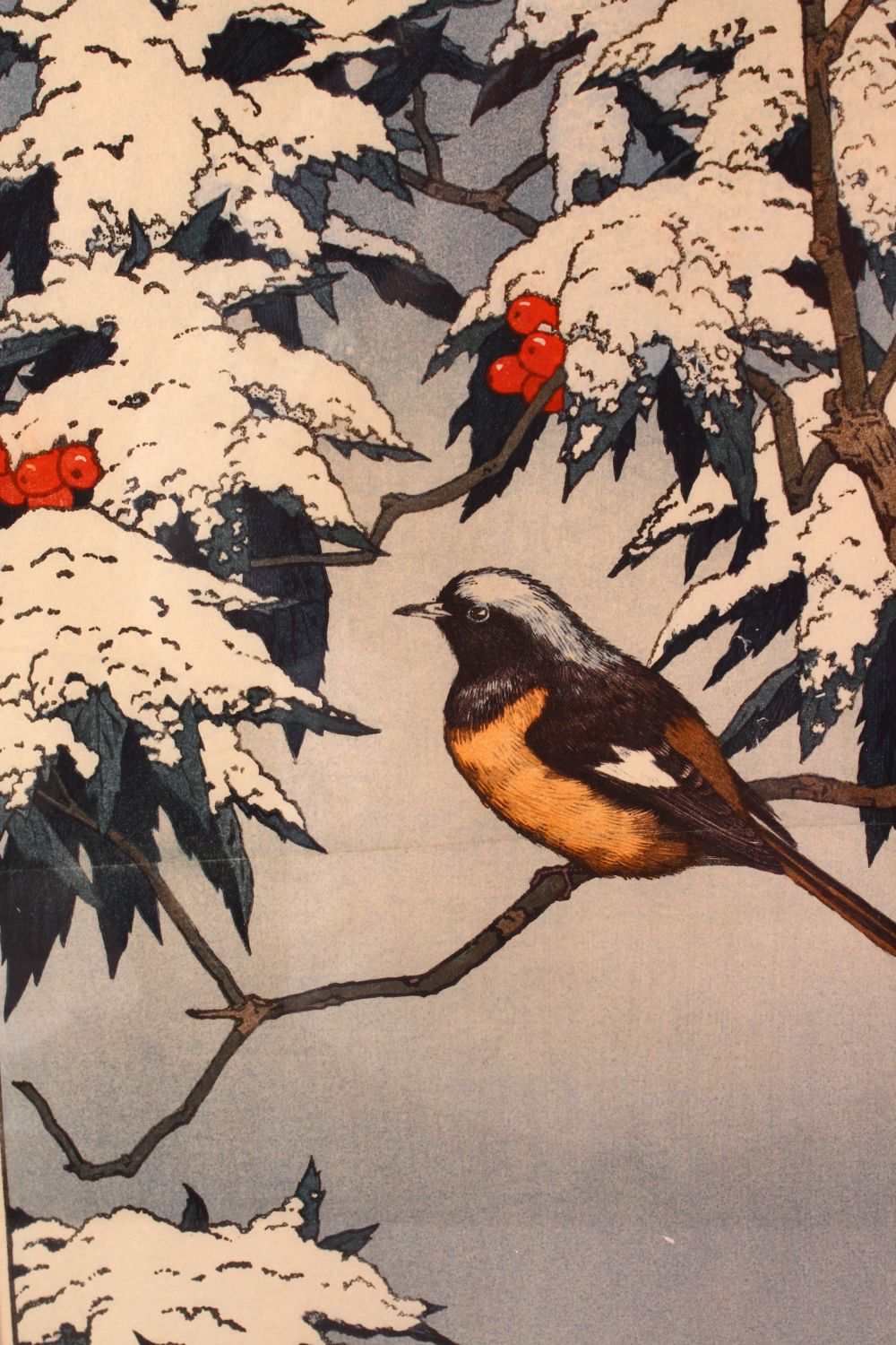 A LARGER JAPANESE WOODBLOCK PRINT BY TOSHI YOSHIDA 1911 - 1995, sitting under snow covered - Image 2 of 4