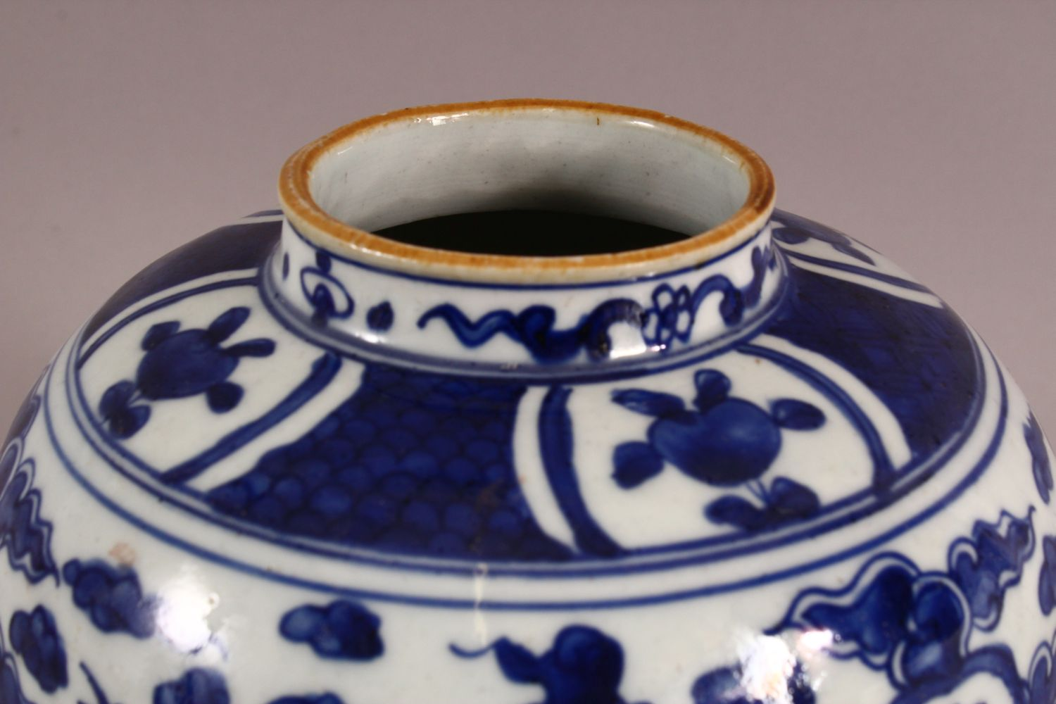 A CHINESE BLUE & WHITE PORCELAIN GINGER JAR, decorated with birds and symbols amongst clouds, rabbit - Image 5 of 7