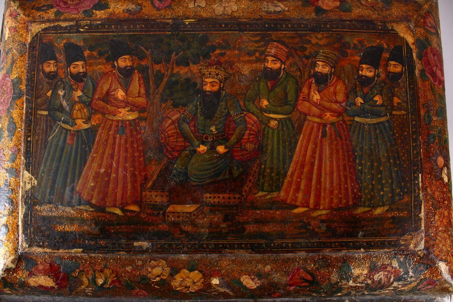 A GOOD PERSIAN QAJAR LACQUER PAINTED LIDDED BOX, decorated to the exterior with birds and detailed - Image 5 of 15