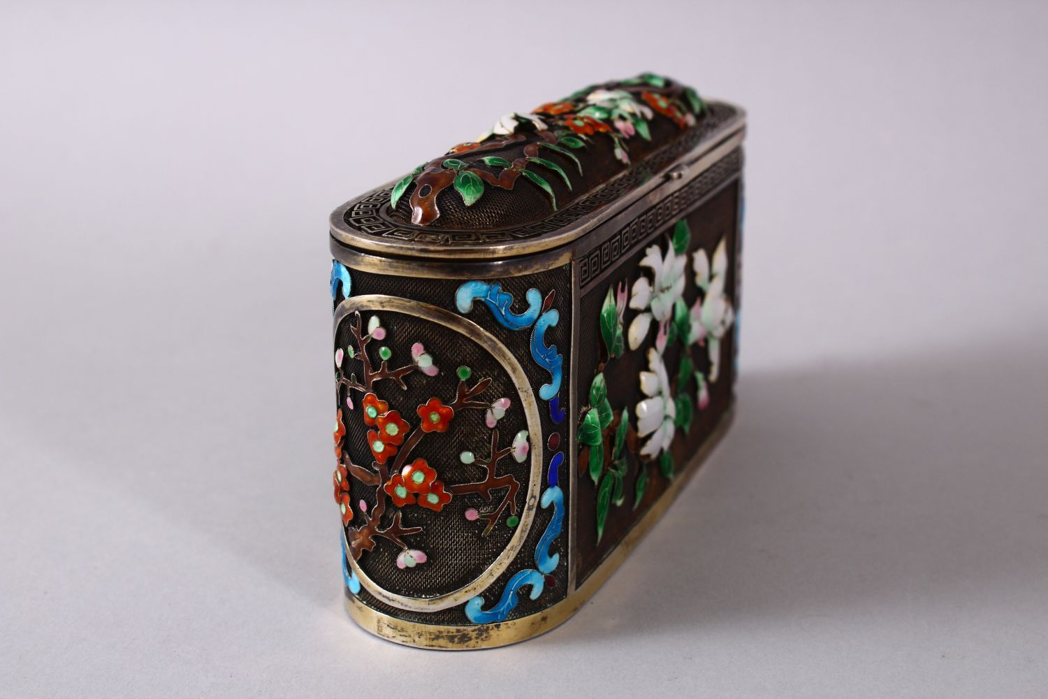 A CHINESE SILVER & ENAMEL LIDDED BOX, with enamel decoration of native flora, base marked silver, - Image 3 of 10