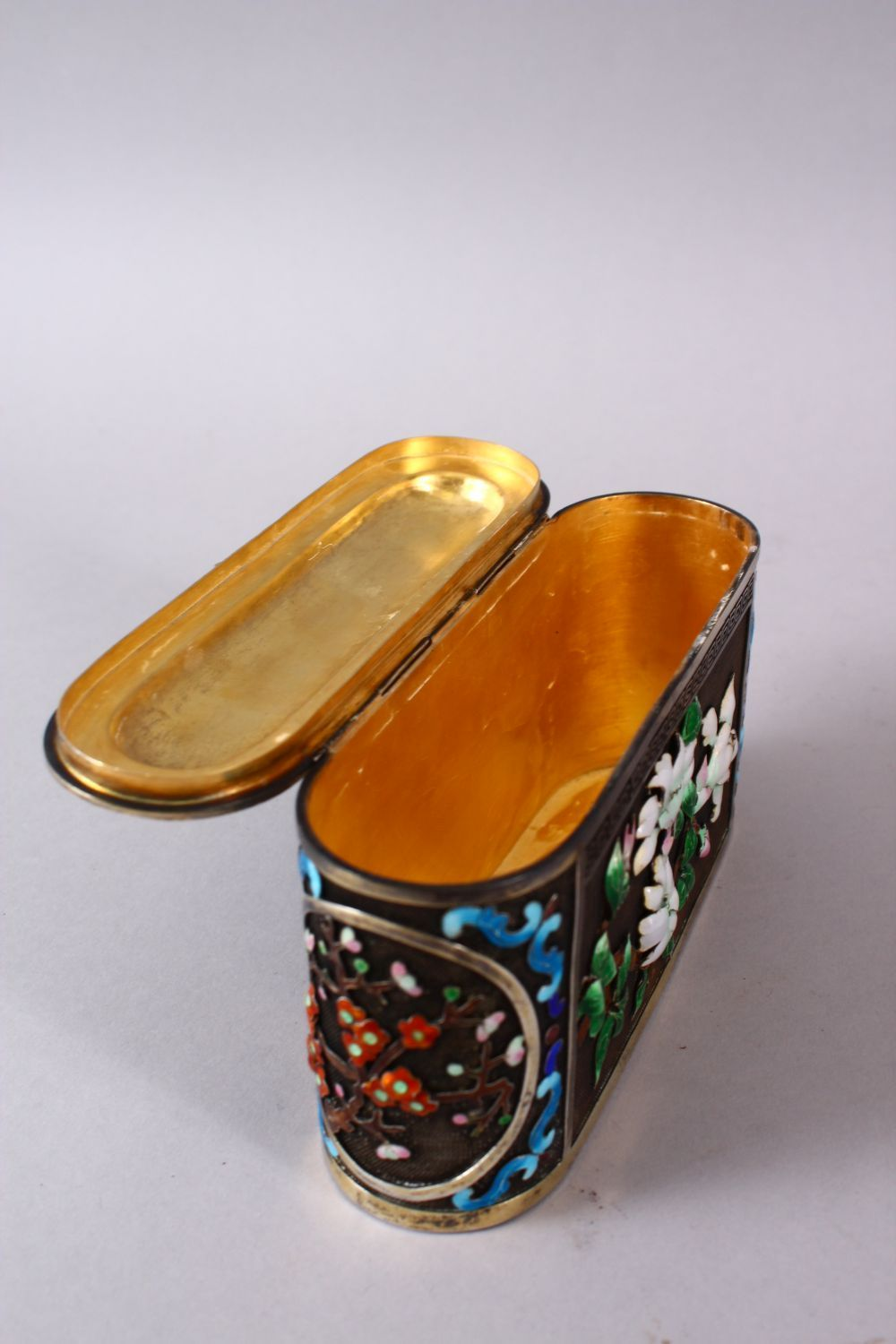 A CHINESE SILVER & ENAMEL LIDDED BOX, with enamel decoration of native flora, base marked silver, - Image 8 of 10