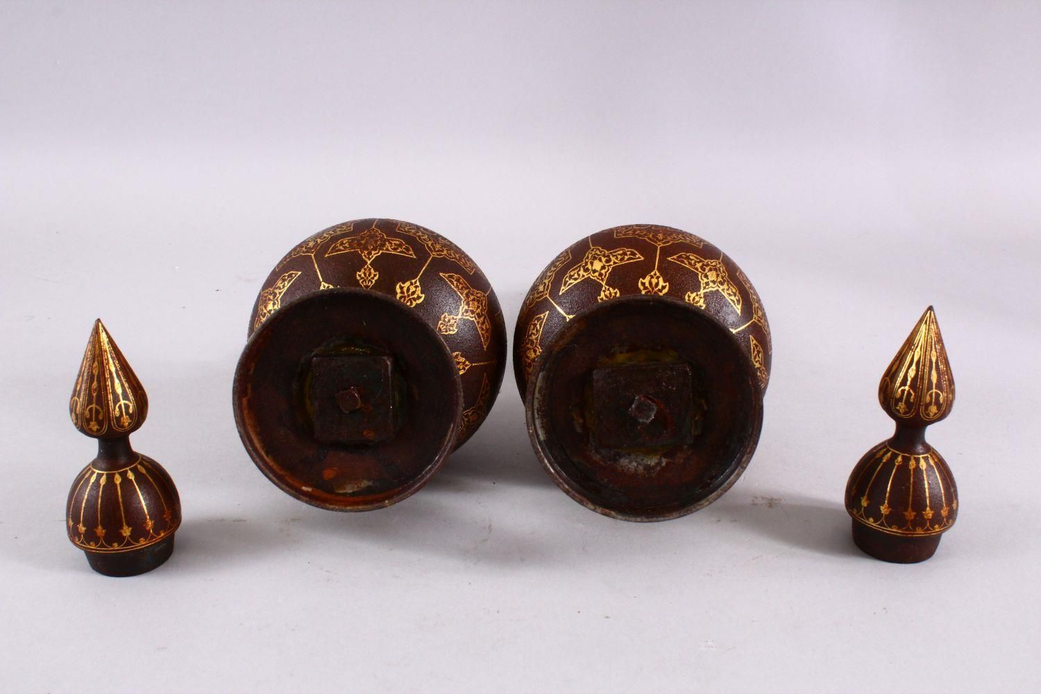 A PAIR OF ISLAMIC DAMASCENE INLAID STEEL BOTTLE & COVERS, each with gold inlaid panels of star - Image 8 of 8