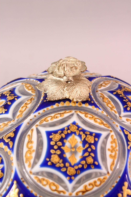 A BOHEMIAN BLUE CUT GLASS ENAMELED SWEET JAR & COVER, 17cm high. - Image 3 of 5
