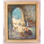 """OIL ON BOARD PAINTING - ISLAMIC ORIENTALIST - Framed, the lower section signed """" C. Flexer"""", 75cm"""