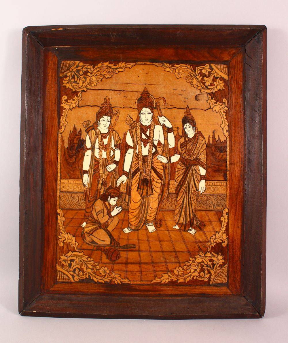 AN INDIAN INLAID WOODEN PANEL, inlaid with exotic woods and bone, depicting figures, 65cm x 55cm.