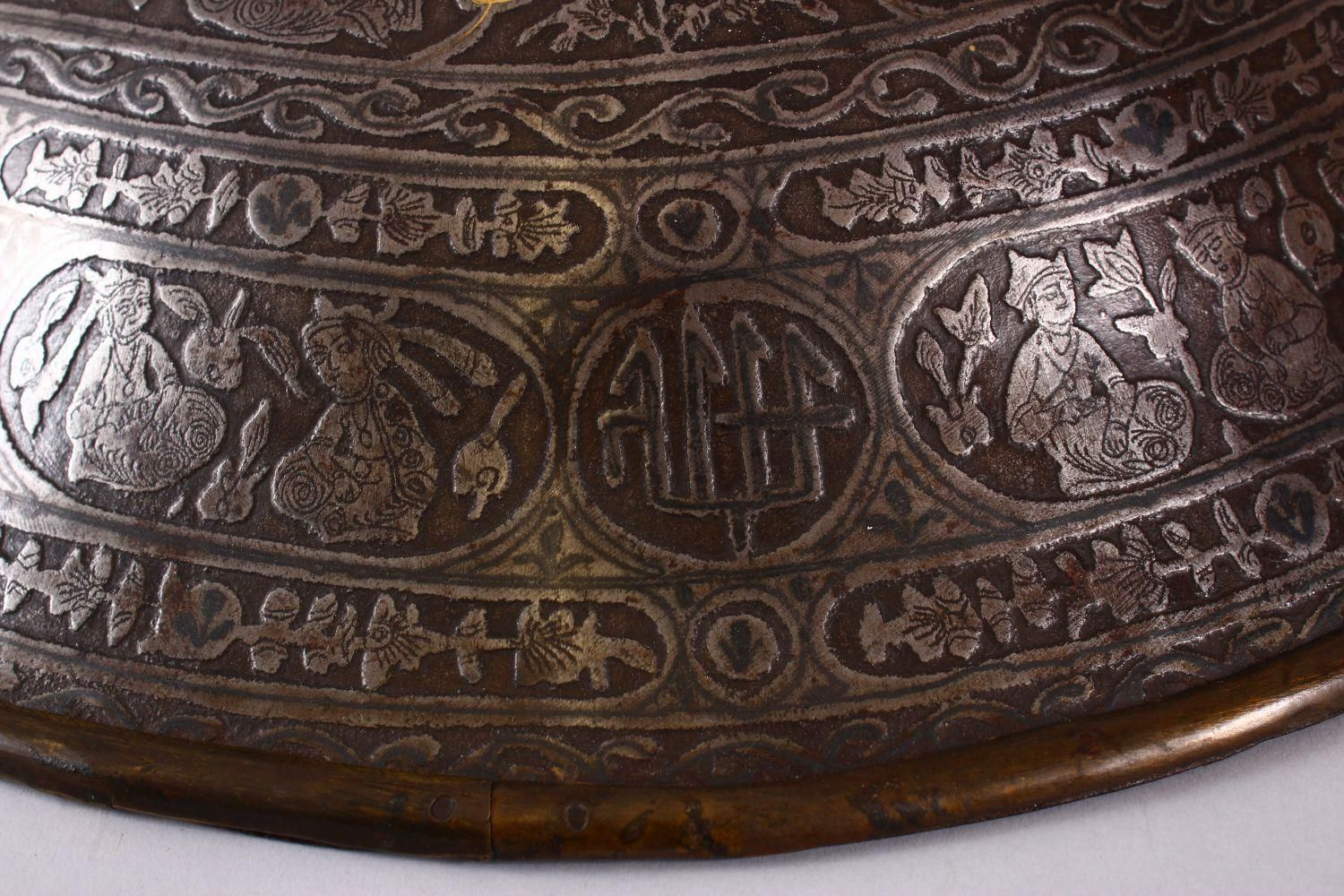 A LARGE 19TH CENTURY PERSIAN GILT DECORATED STEEL SHIELD, with carved decoration of figures, bands - Image 8 of 12