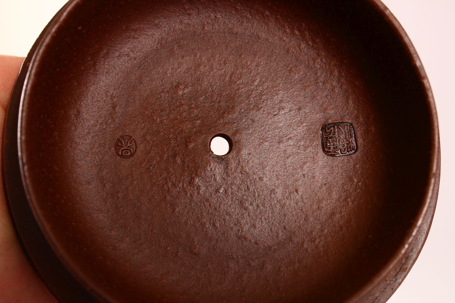 A CHINESE YIXING CLAY TEAPOT, with moulded beast like figures, the underside of the pot and lid with - Image 6 of 8