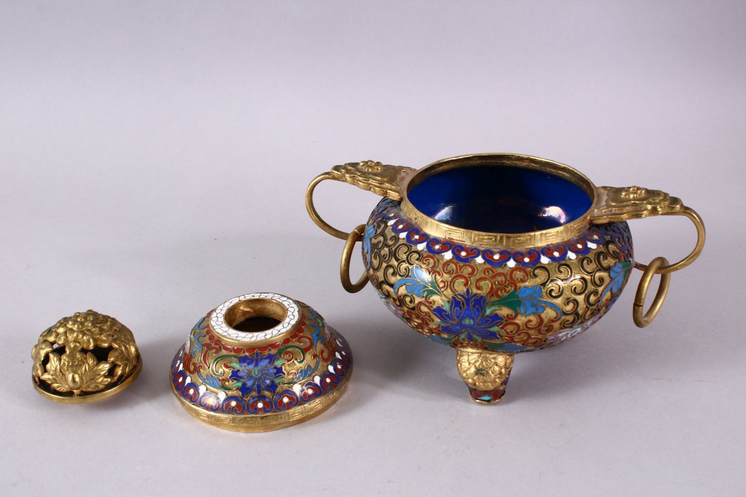 A CHINESE CLOISONNE TRIPLE FOOT CENSER & COVER, with raised enamel decoration of lotus, triple - Image 6 of 8