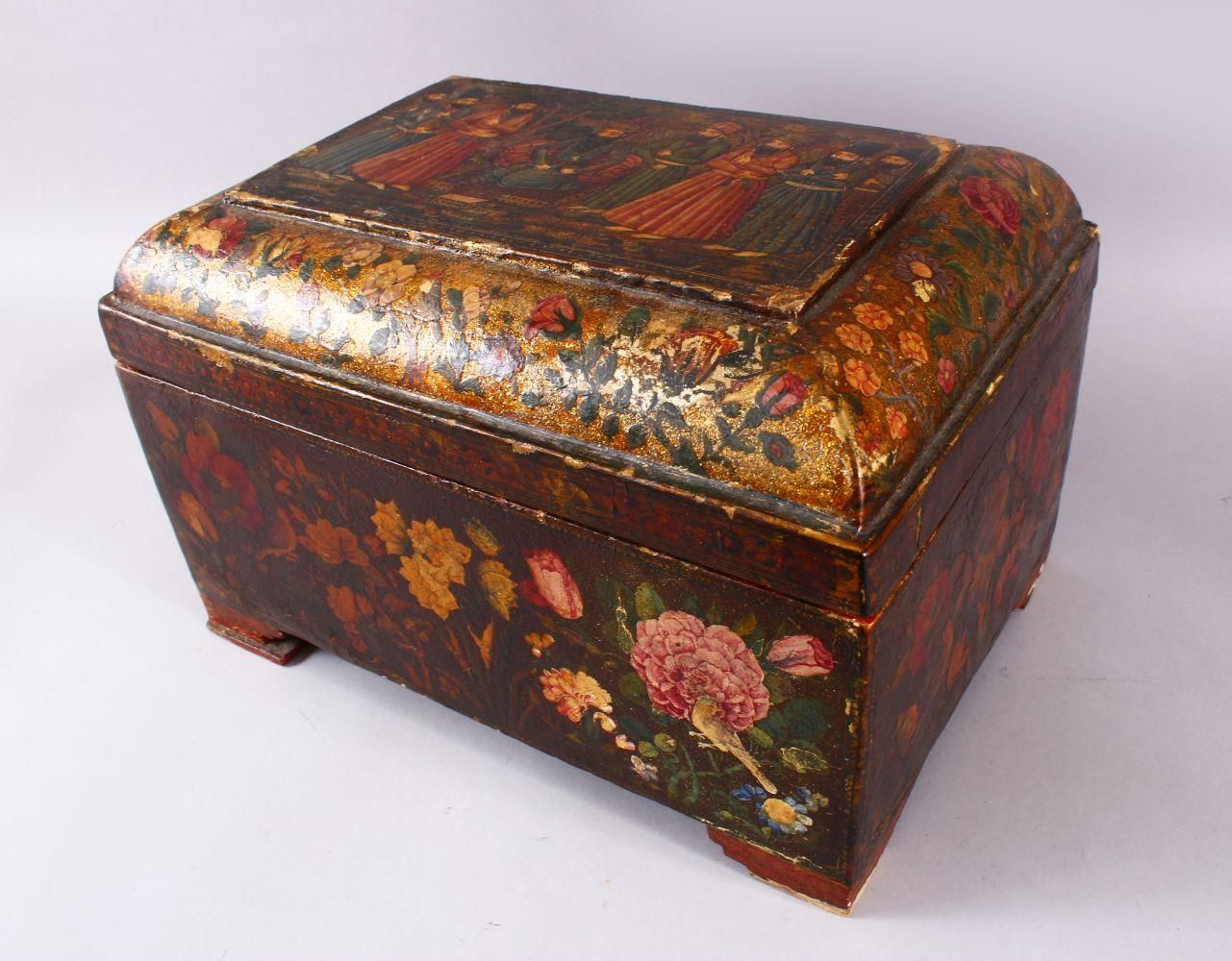 A GOOD PERSIAN QAJAR LACQUER PAINTED LIDDED BOX, decorated to the exterior with birds and detailed