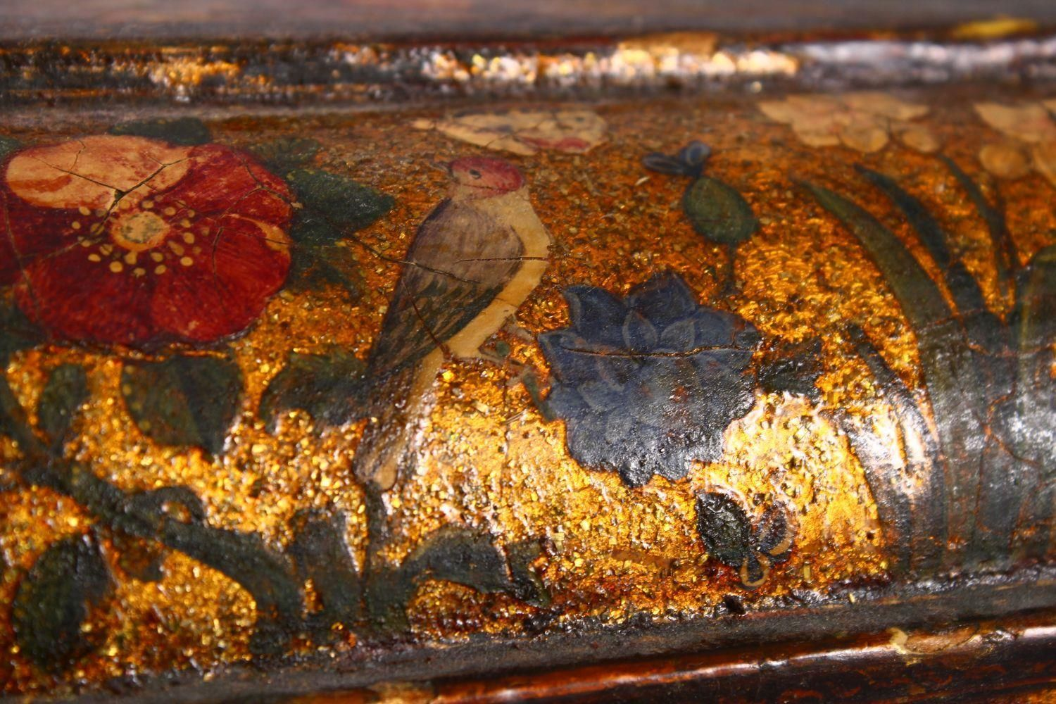 A GOOD PERSIAN QAJAR LACQUER PAINTED LIDDED BOX, decorated to the exterior with birds and detailed - Image 9 of 15