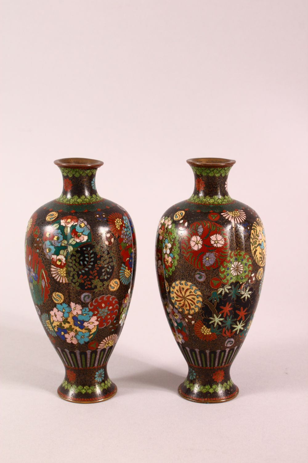A PAIR OF SMALL CLOISONNE VASES OF RIBBED BALUSTER FORM, decorated with roundels of flowers, 15cm - Image 4 of 6
