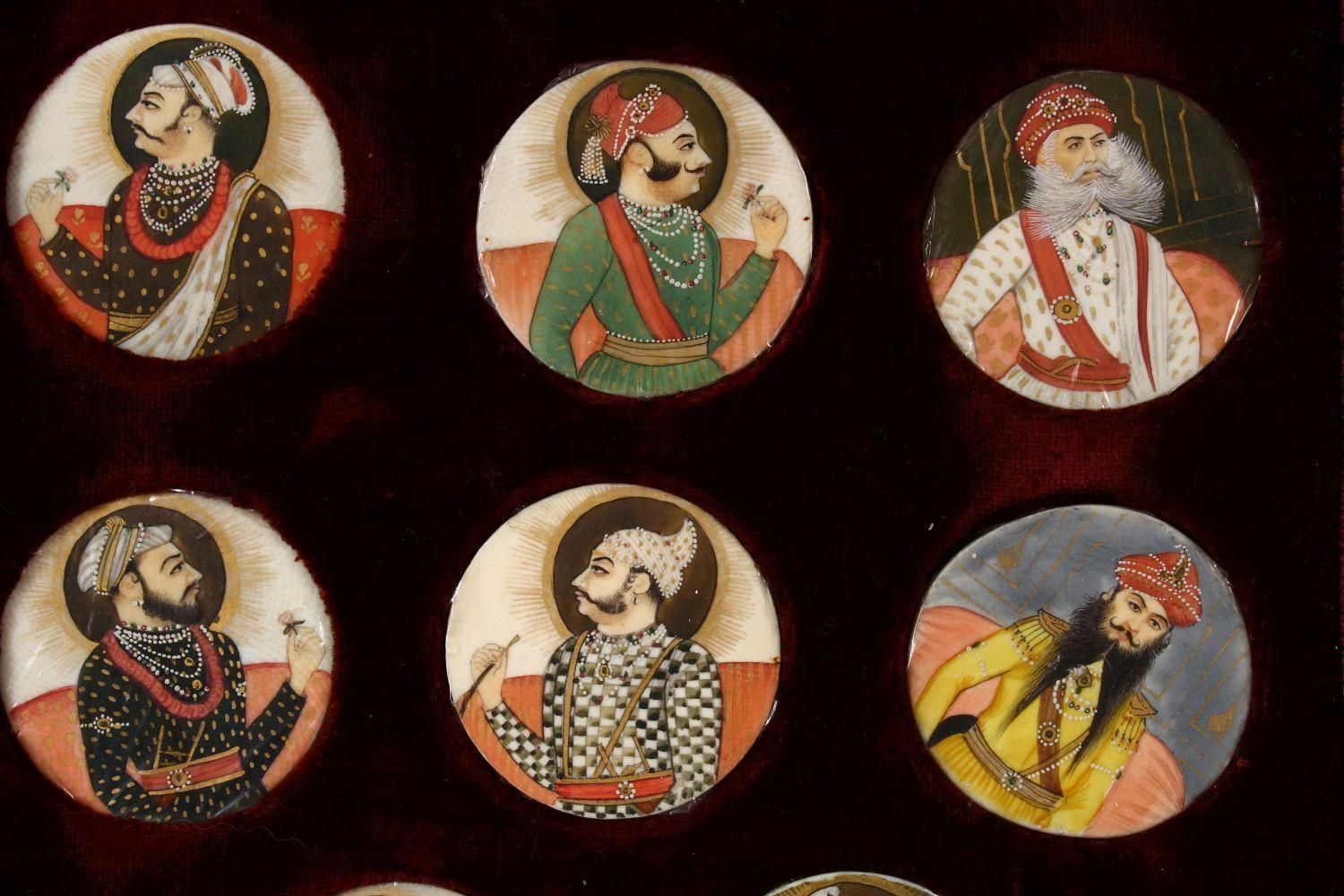 A BOXED SET OF THIRTEEN 18TH/19TH CENTURY PERSIAN CARVED & PAINTED IVORY MINIATURES, each of the - Image 3 of 10