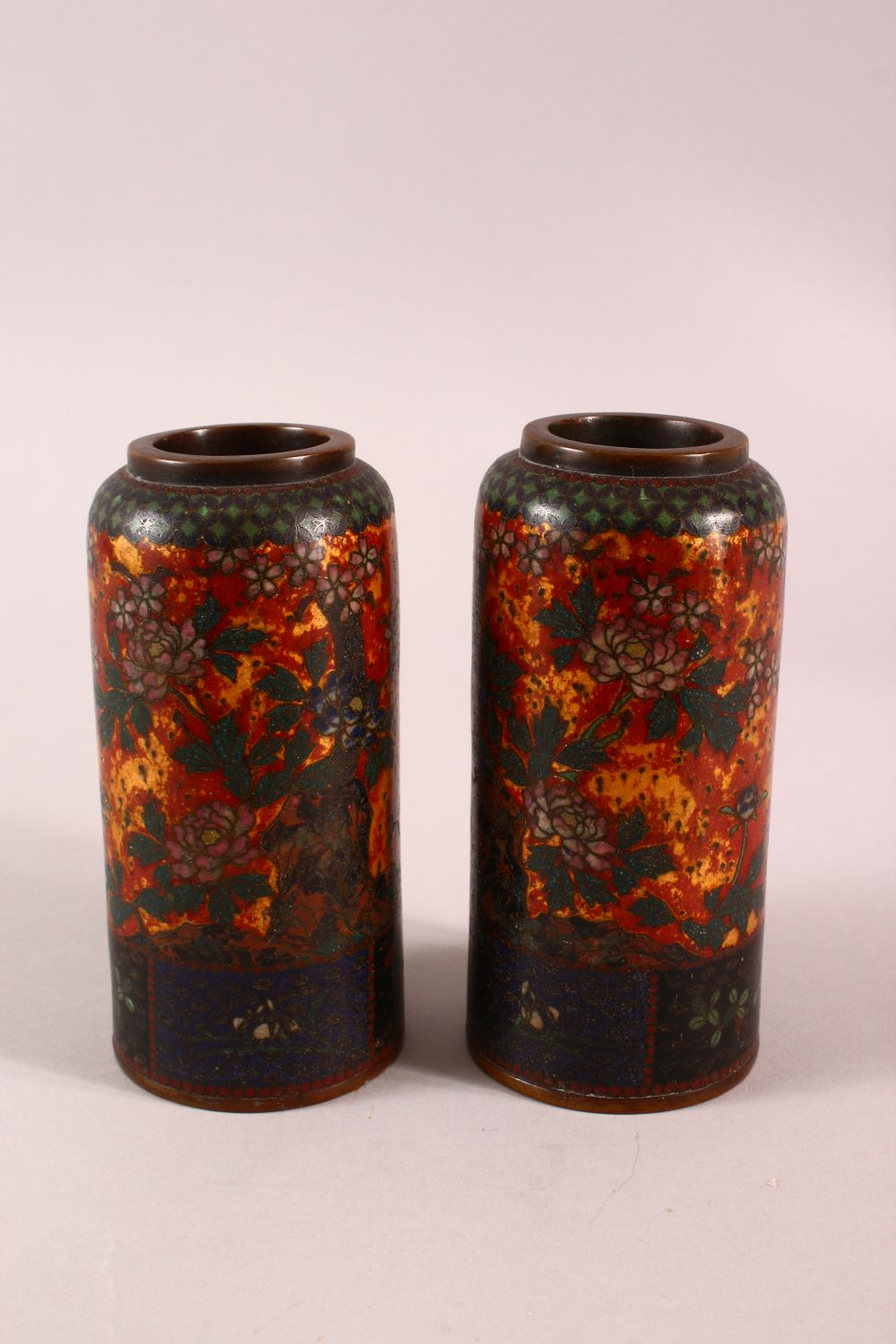 A PAIR OF JAPANESE CLOISONNE VASES OF CYLINDRICAL FORM, gold ground, 15cm high. - Image 3 of 5