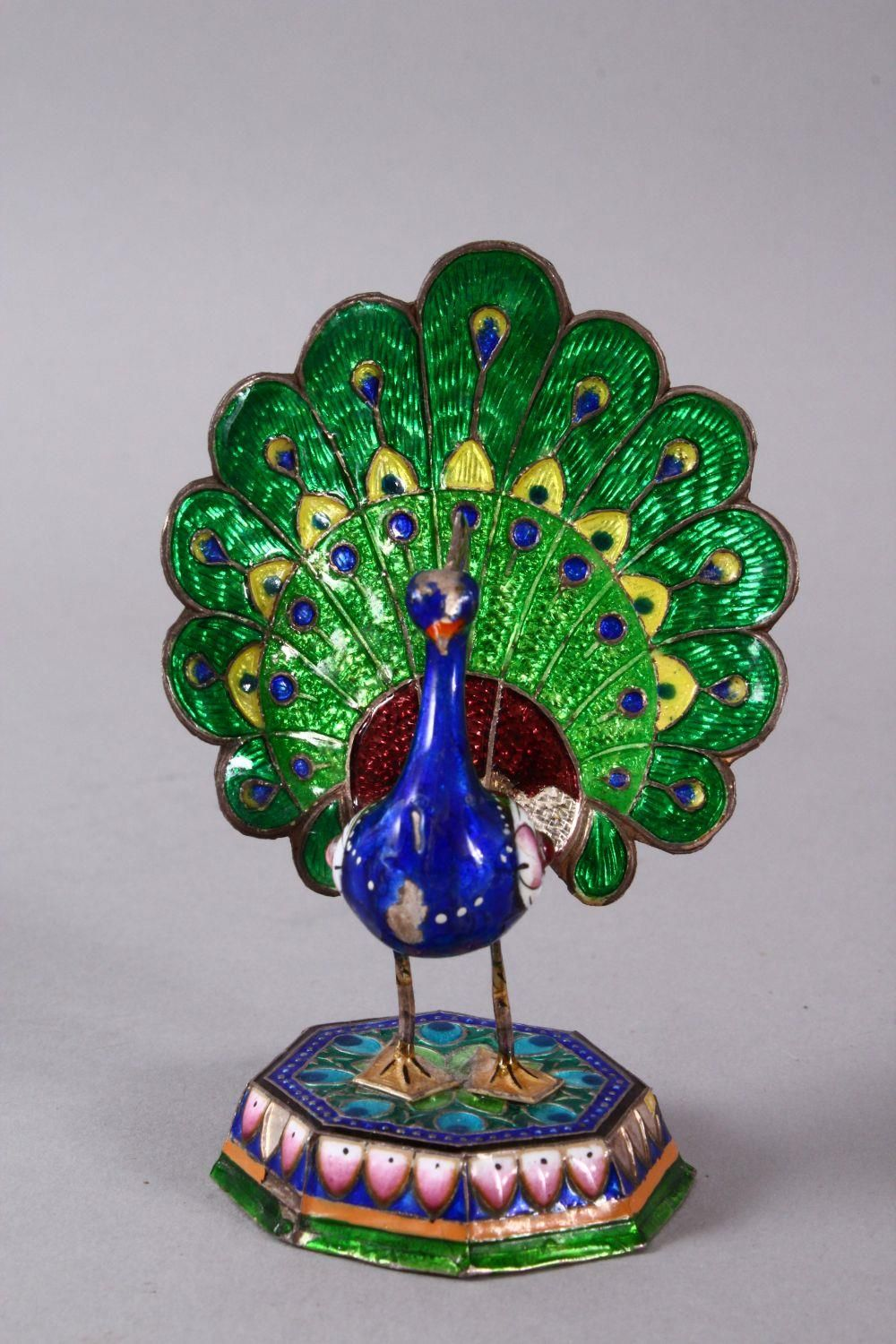 TWO 19TH / 20TH CENTURY INDIAN ENAMEL BIRD FIGURES, one of a peacock, the other of a bird upon - Image 2 of 8