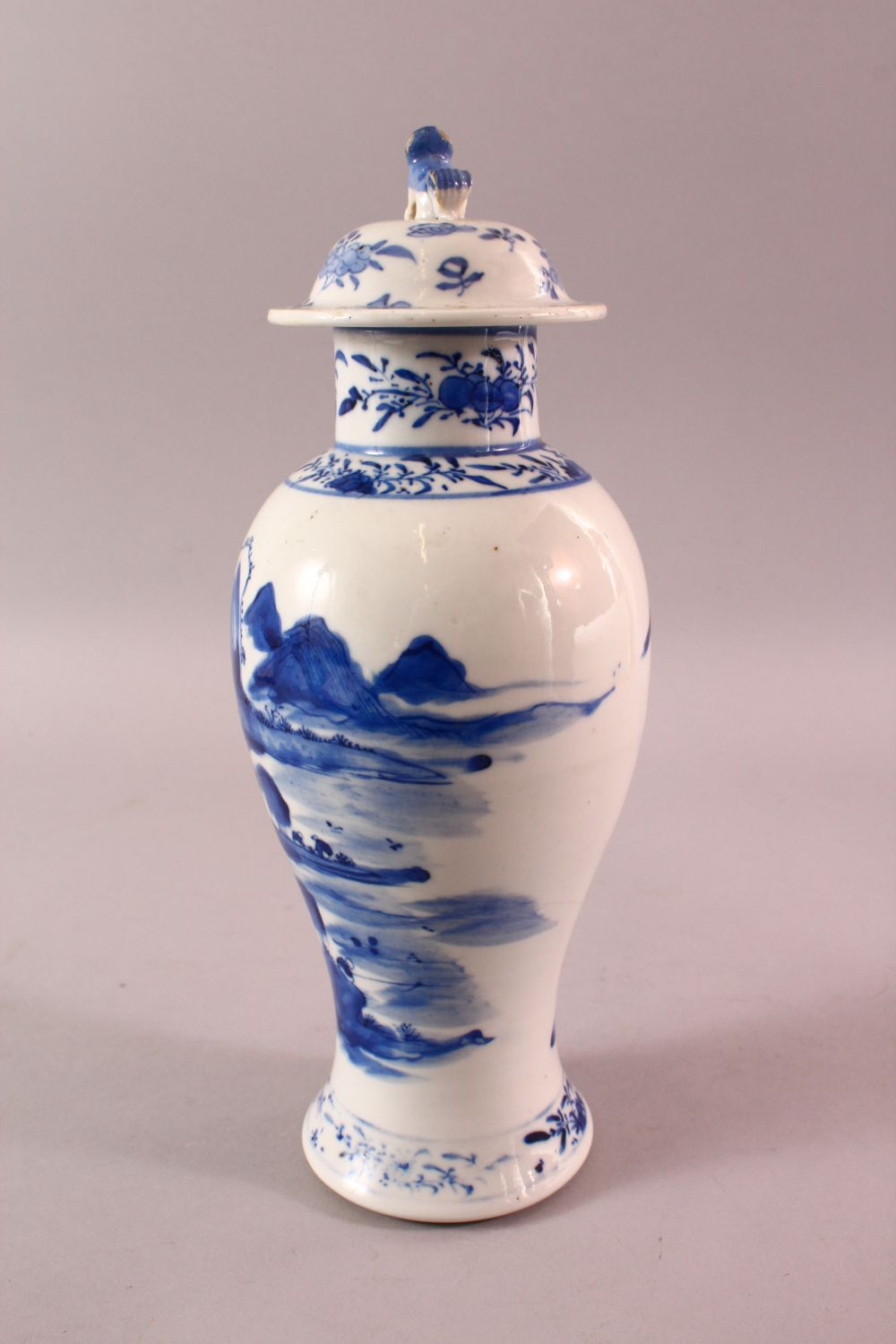 A CHINESE BLUE & WHITE PORCELAIN LANDSCAPE VASE, with decoration of landscapes, with a lion dog - Image 3 of 8