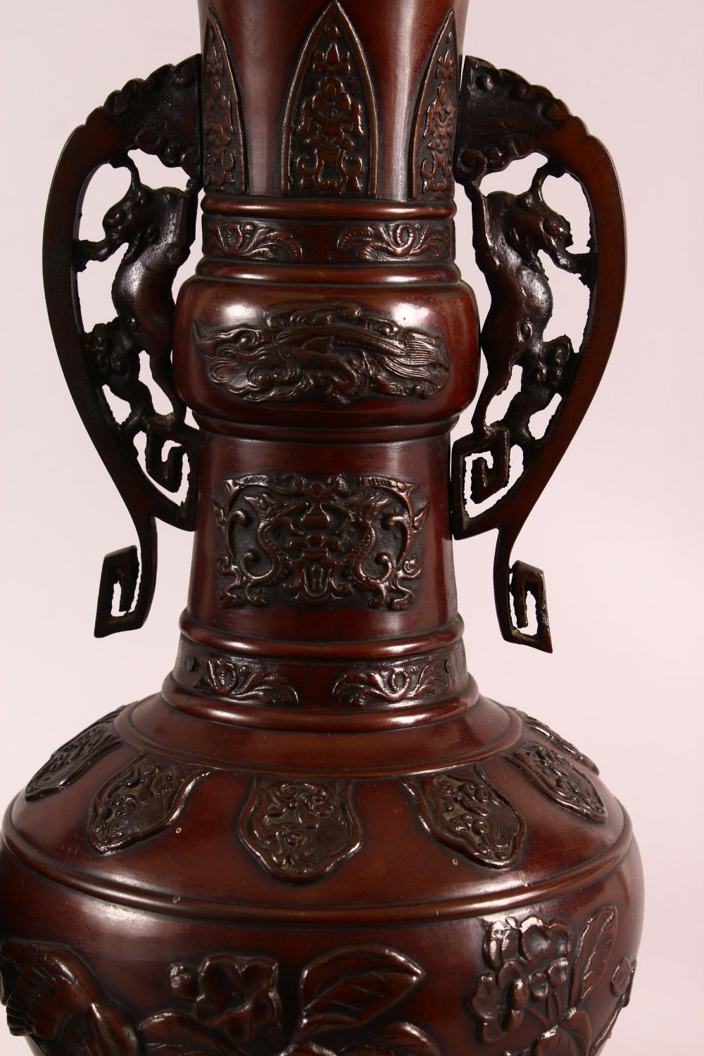 A PAIR OF JAPANESE RELIEF BRONZE VASES, with twin handles, relief birds and flora decoration, 40cm - Image 3 of 7