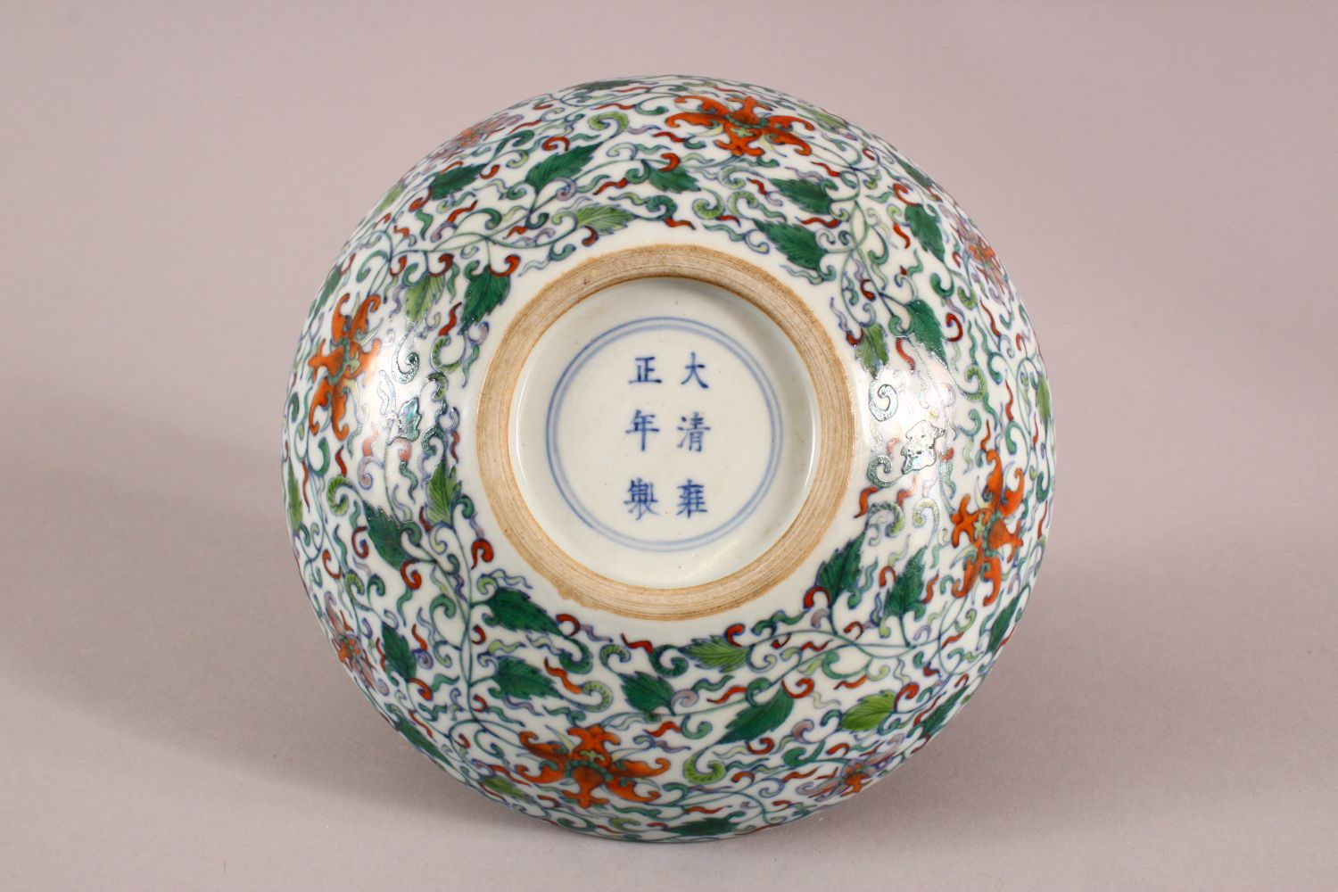 A CHINESE DOUCAI DISH decorated with lotus, yong zheng mark to base, 18cm diameter. - Image 4 of 5