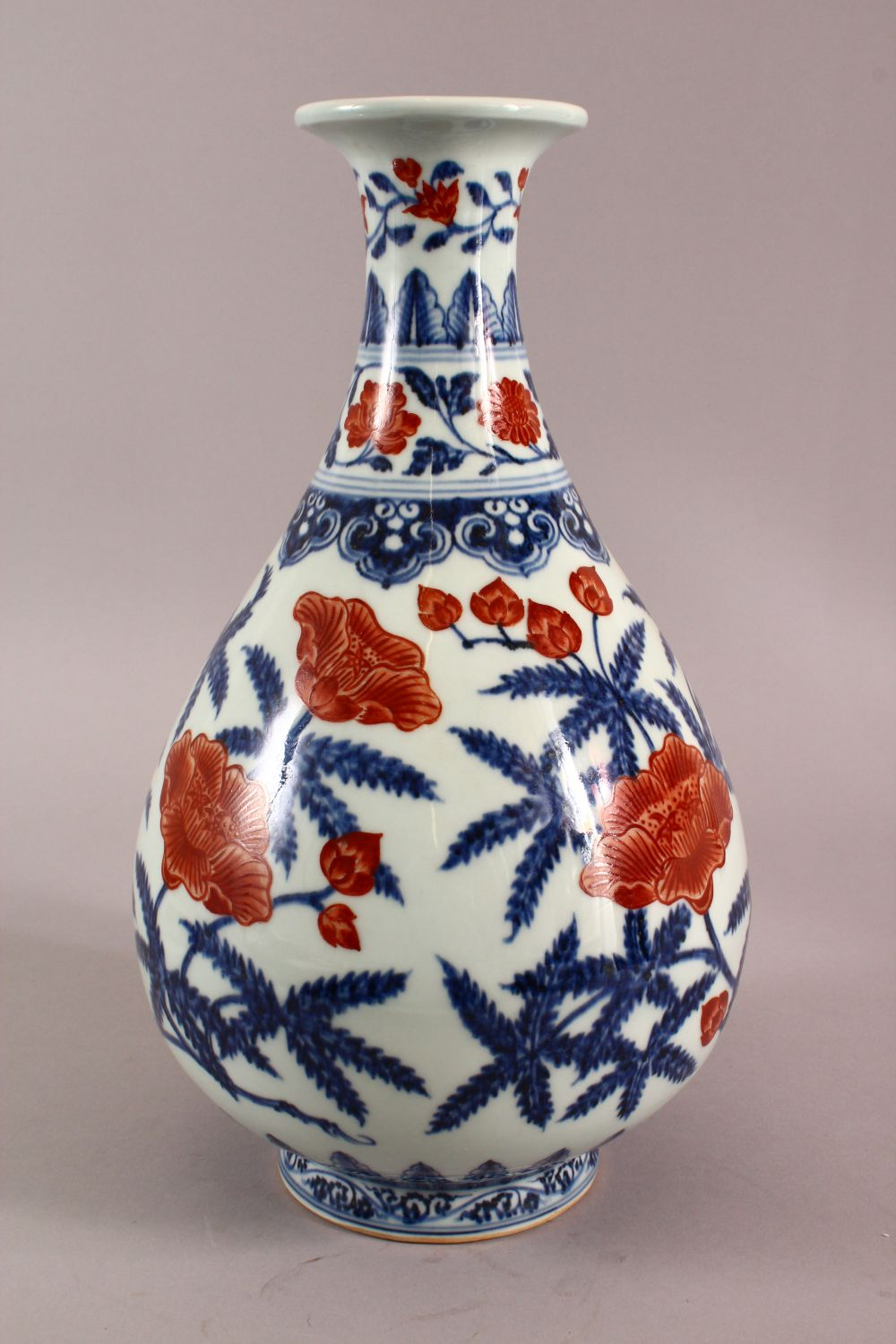 A CHINSE UNDEGLAZED BLUE & COPPER RED LOTUS PORCELAIN VASE, the base with a six character mark, 34cm - Image 3 of 7