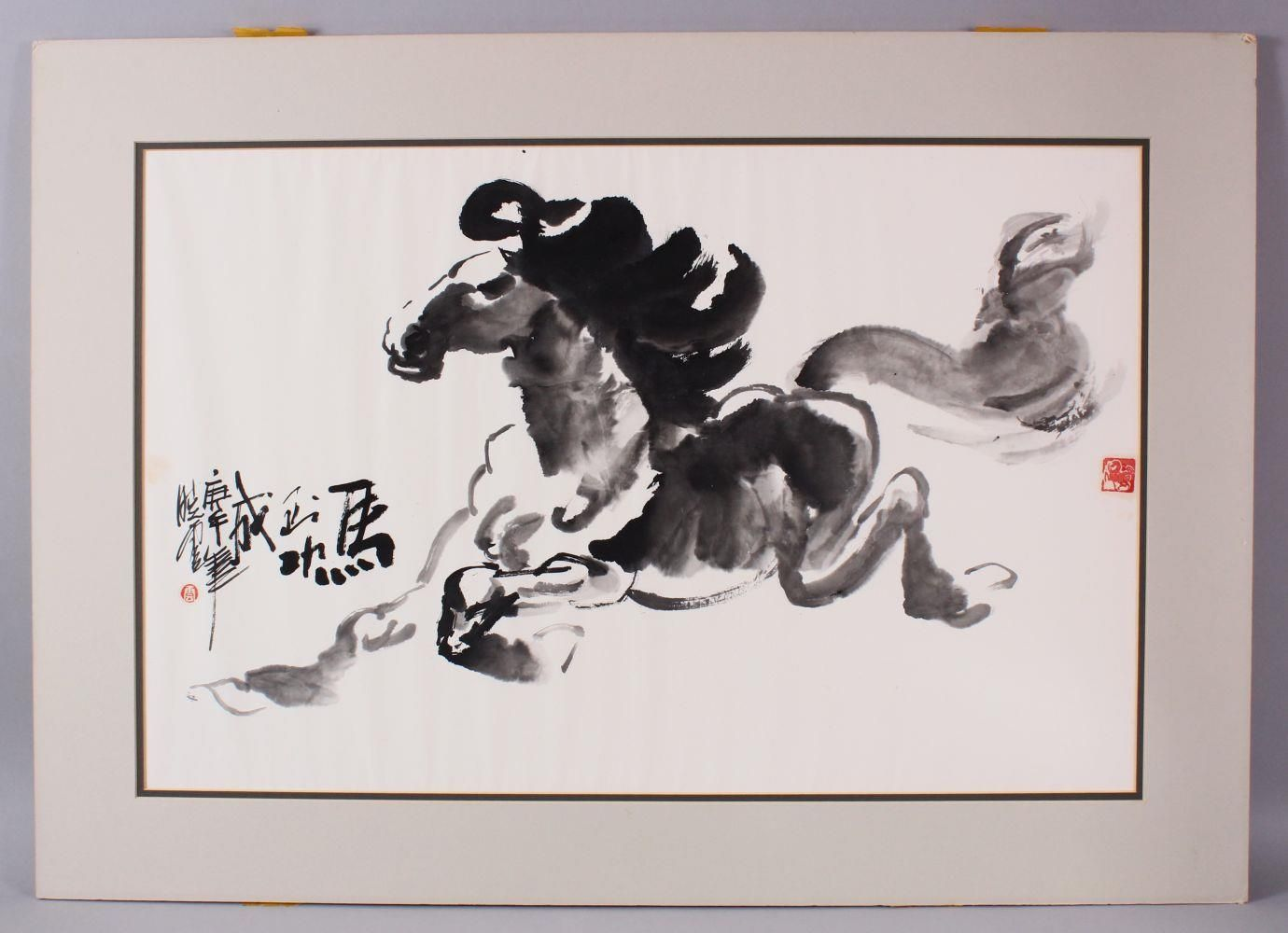 A CHINESE INKWORK PAINTING OF A STYLIZED HORSE - MA DAO CHENG GONG, the horse in a a stylized