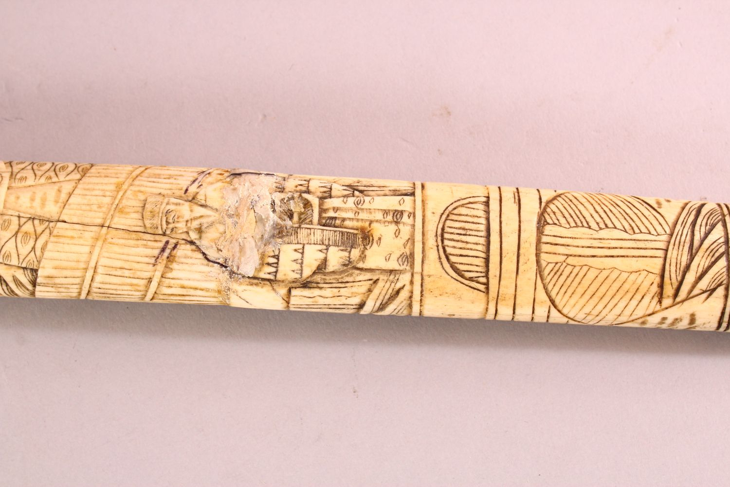 A JAPANESE MEIJI PERIOD SECTIONAL CARVED IVORY SWORD, carved with scenes of figures (AF) 85cm - Image 3 of 7