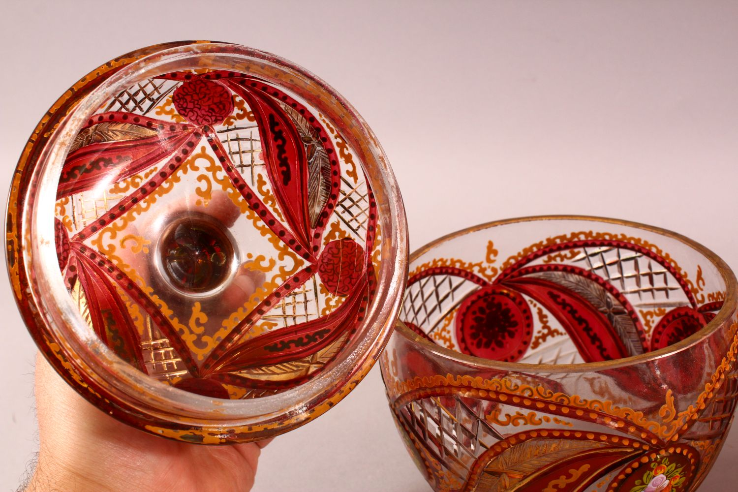 A PAIR OF BOHEMIAN RED ENAMELLED GLASS JARS, each with enamel and gilt work, 20cm each - Image 3 of 4