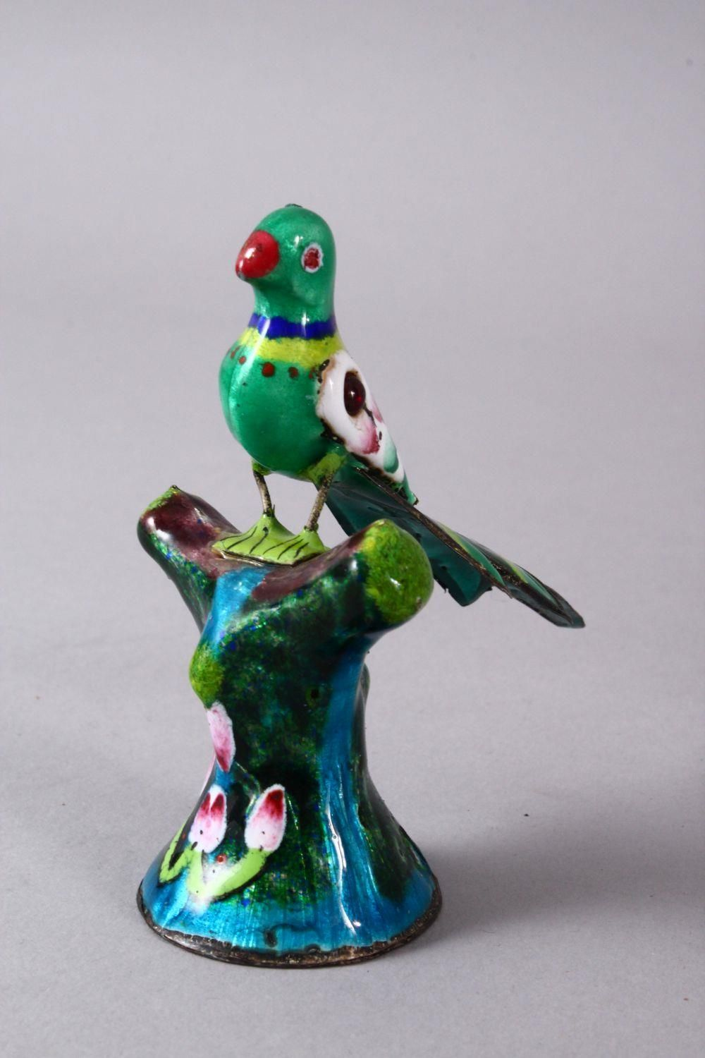 TWO 19TH / 20TH CENTURY INDIAN ENAMEL BIRD FIGURES, one of a peacock, the other of a bird upon - Image 5 of 8