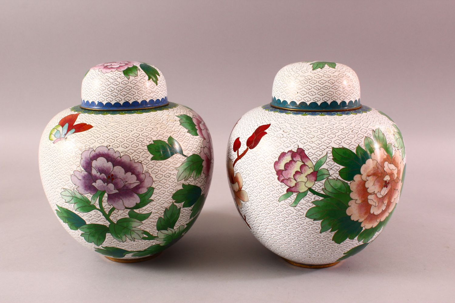 A PAIR OF CHINESE CLOISONNE GINGER JARS & COVERS, each with a white ground and floral decoration, - Image 2 of 7