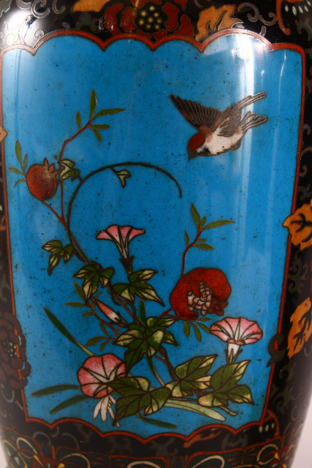 A VERY GOOD PAIR OF JAPANESE CLOISONNE AND ORMOLU NINE LIGHT CANDELABRA, the candle branches - Image 8 of 12