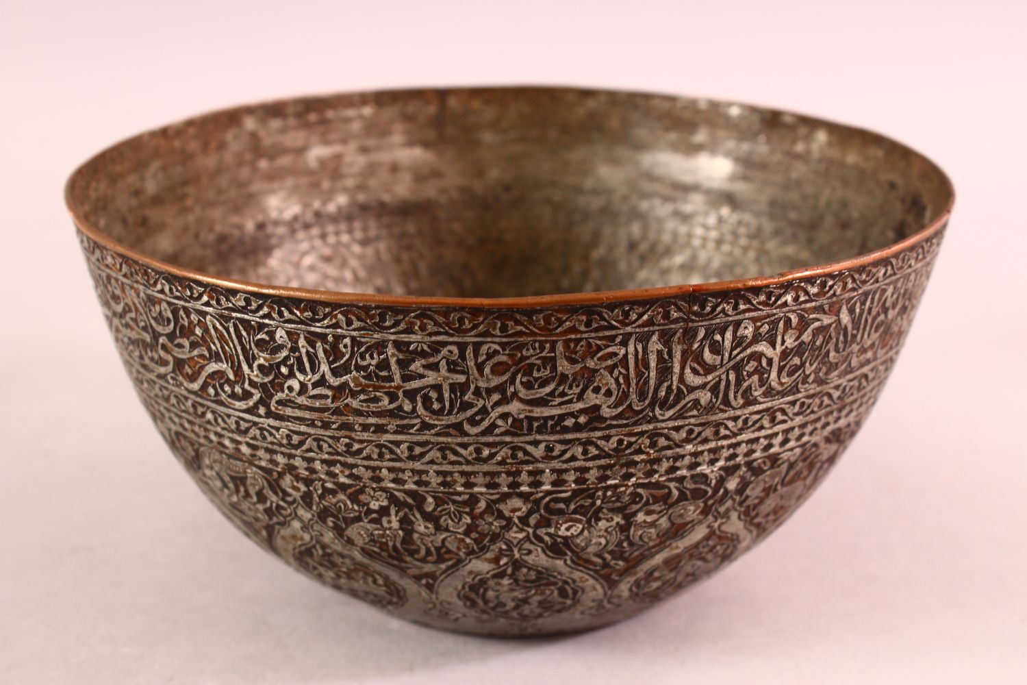 A GOOD ZANDI TINNED COPPER ENGRAVED CALLIGRAPHIC BOWL, with bands of calligraphy, 19cm diameter, - Image 4 of 6