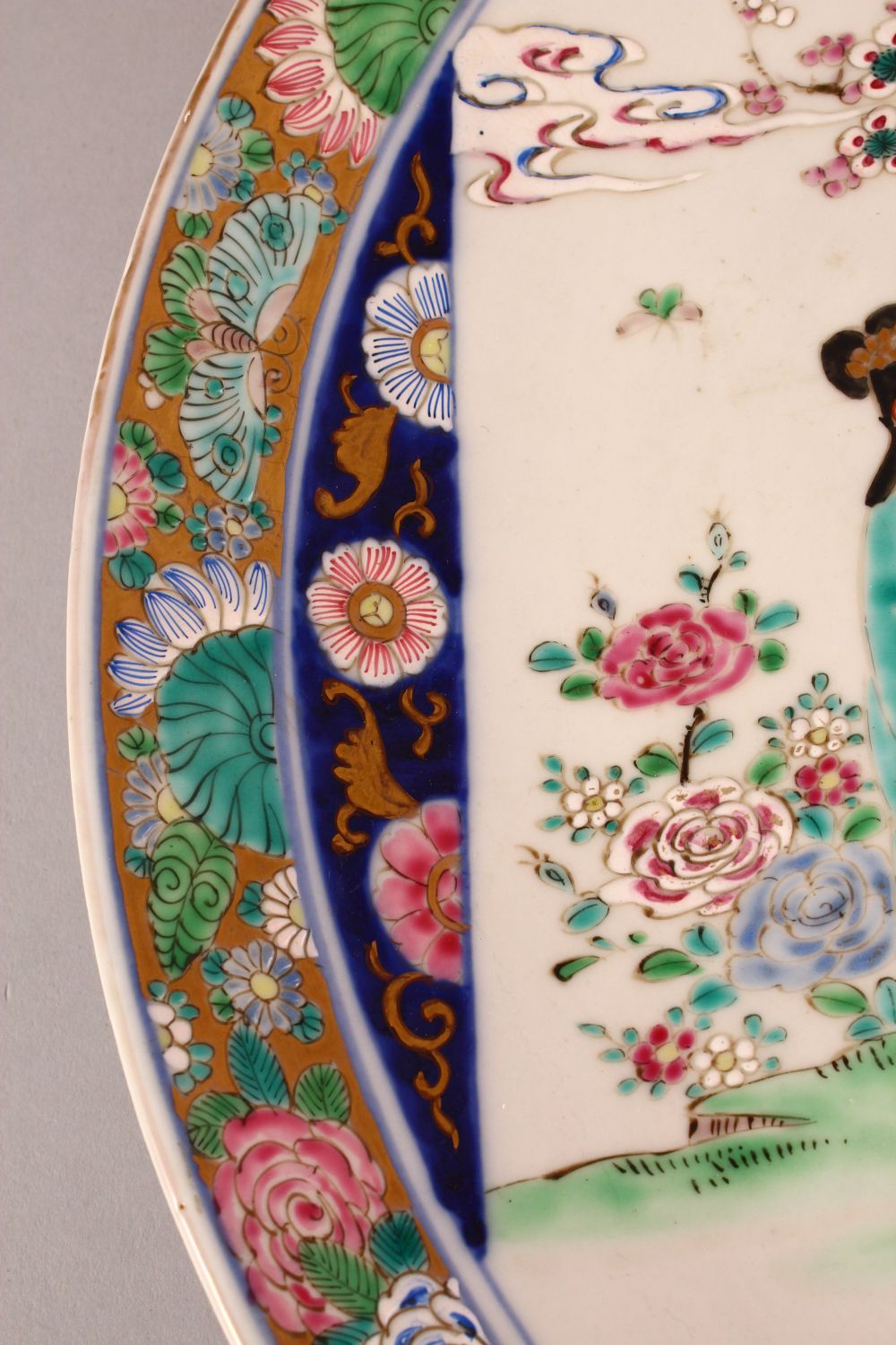 A LARGE JAPANESE POLYCHROME PORCELAIN CHARGER, depicting females in a garden setting, the - Image 4 of 5